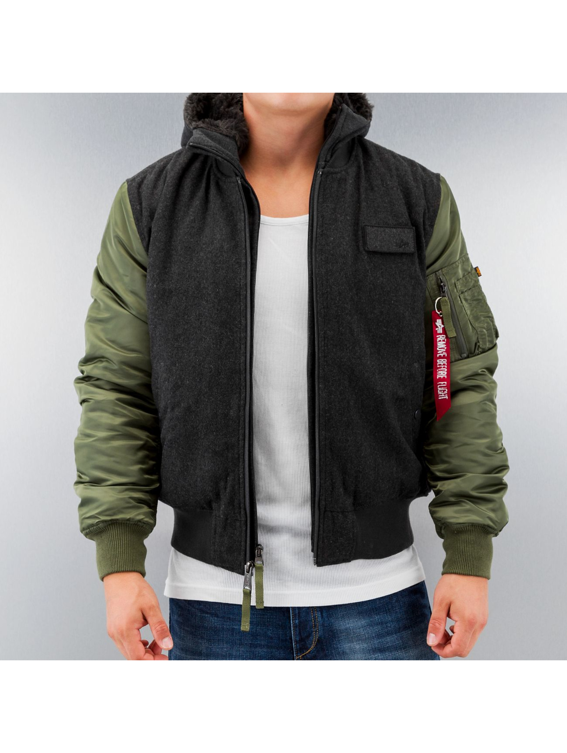alpha industries jacke winterjacke ma 1 d tec wool in gr n 133584. Black Bedroom Furniture Sets. Home Design Ideas