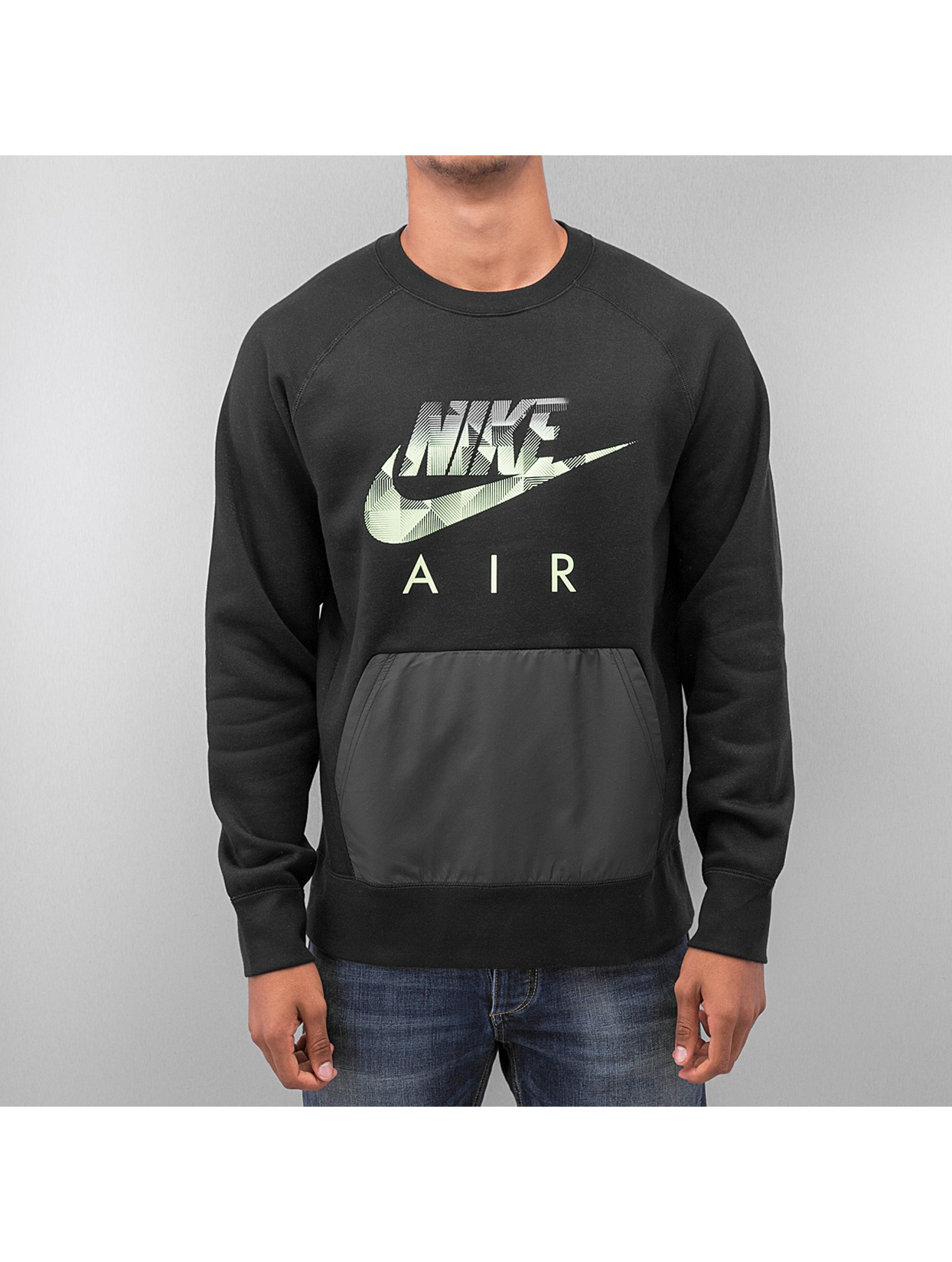 nike oberteil pullover aw77 fleece hybrit in schwarz 174751. Black Bedroom Furniture Sets. Home Design Ideas