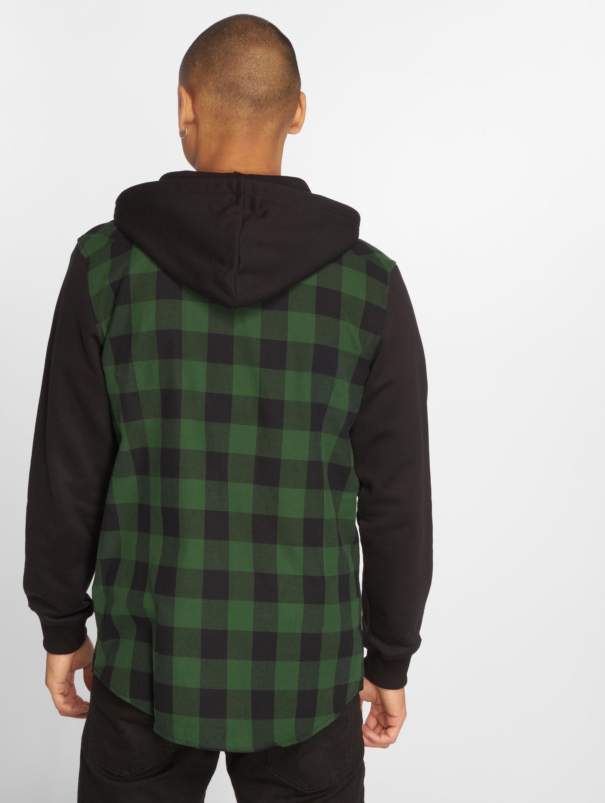 Urban-Classics-Uomini-Maglieria-Camicia-Hooded-Checked-Flanell