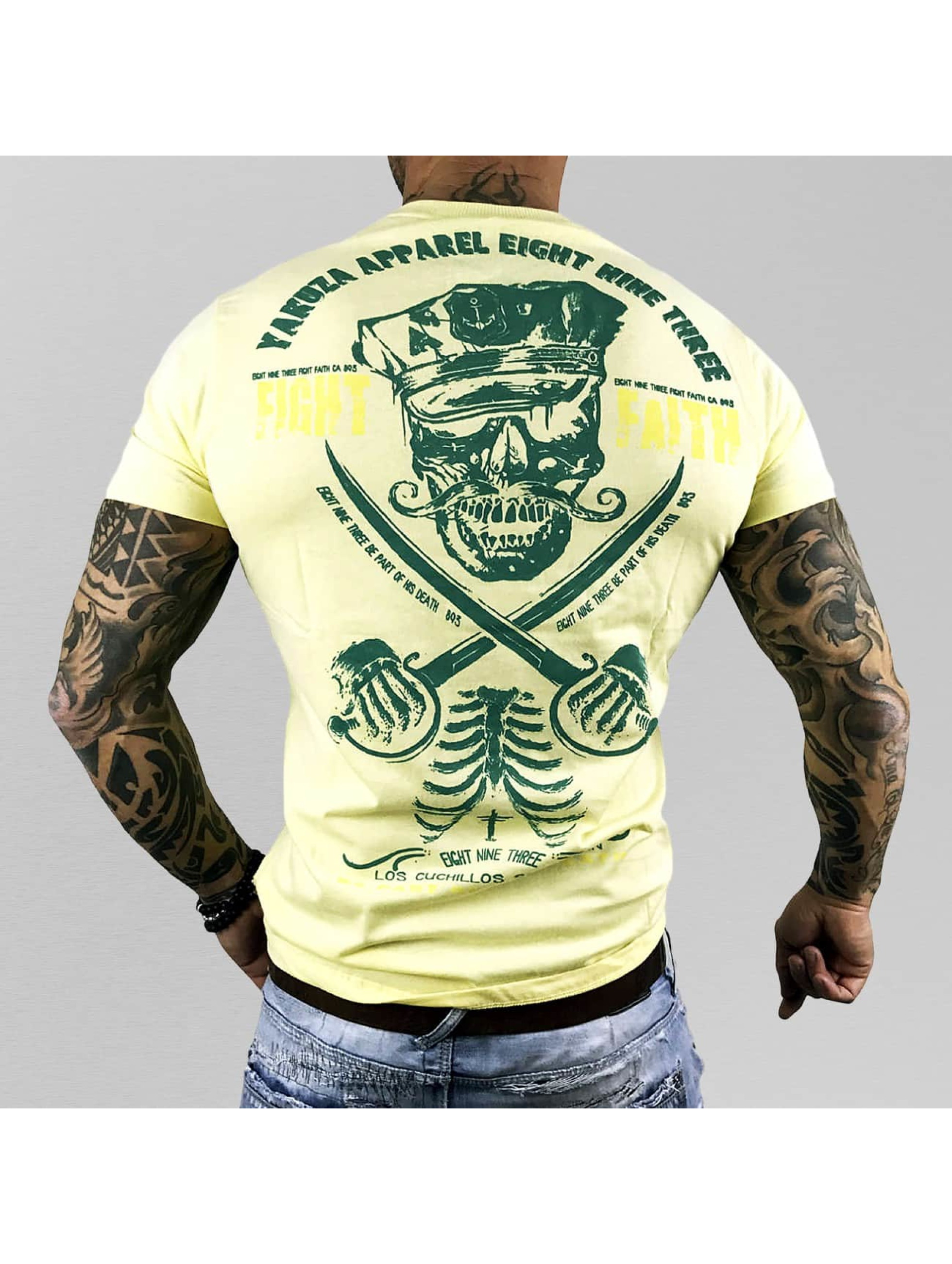 Yakuza-Uomini-Maglieria-T-shirt-Fight-Faith-giallo-297529-4XL