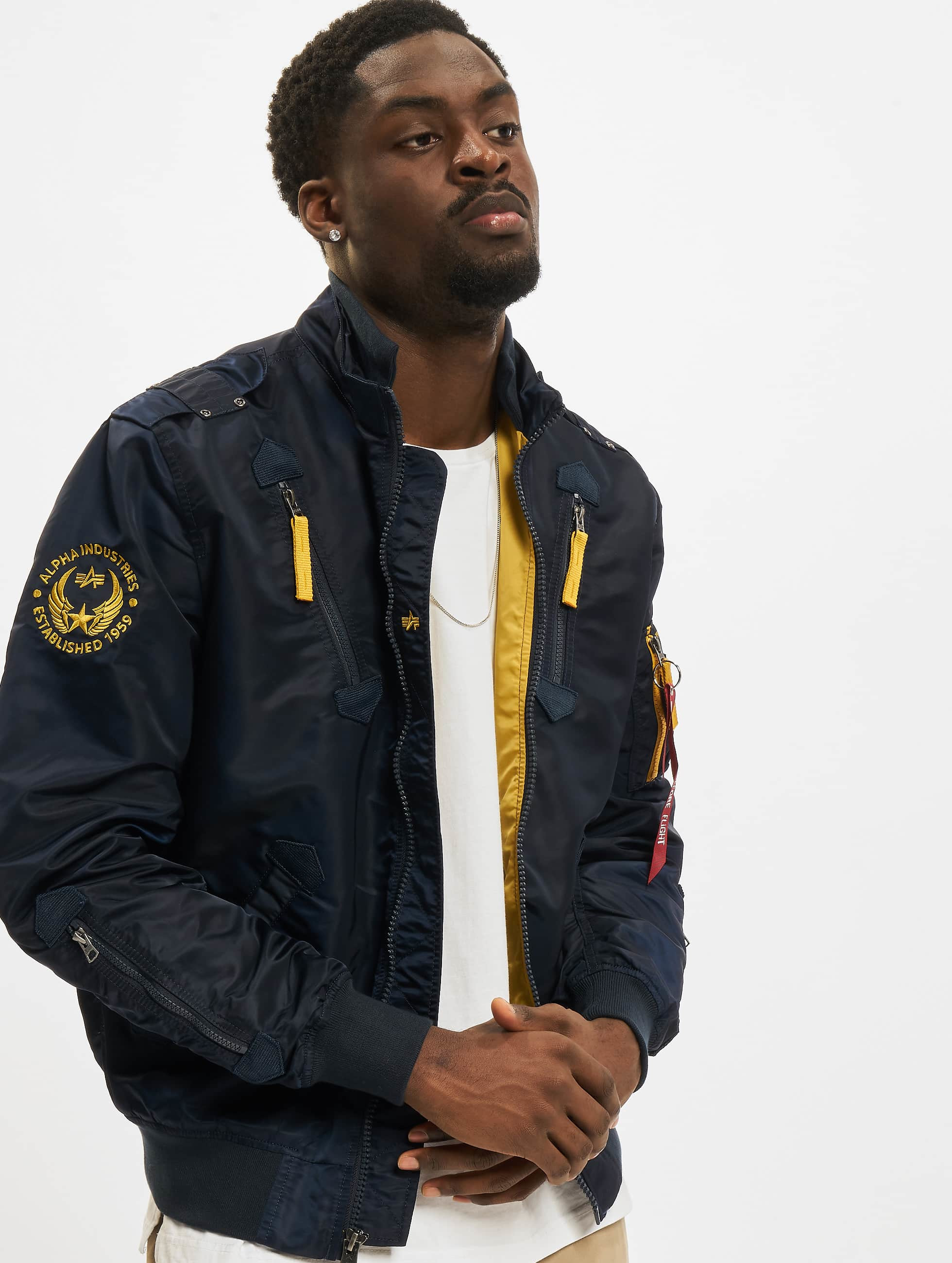 alpha industries herren bomberjacke falcon ii in blau 155169. Black Bedroom Furniture Sets. Home Design Ideas
