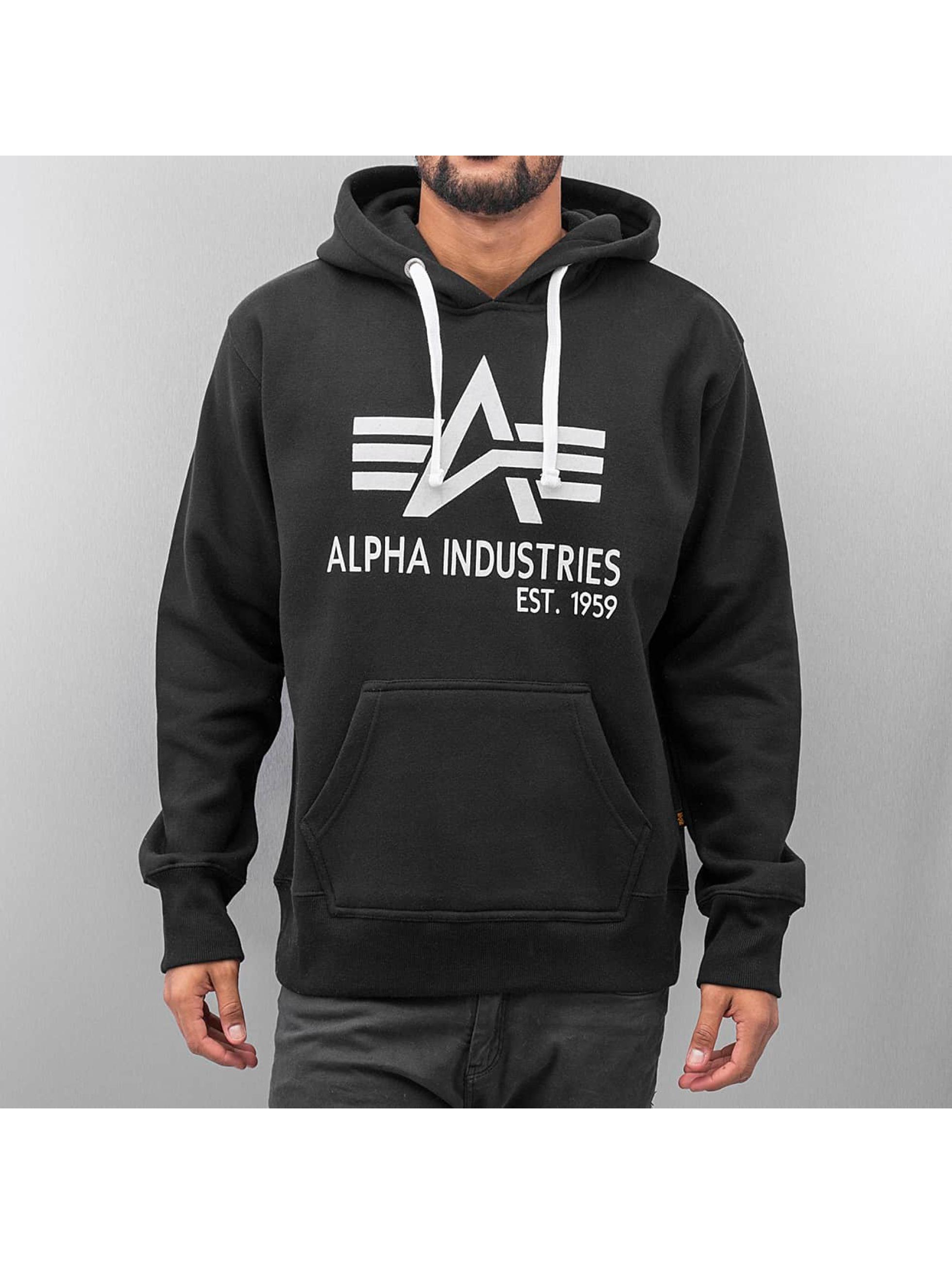 alpha industries herren hoody big a classic in schwarz 35139. Black Bedroom Furniture Sets. Home Design Ideas