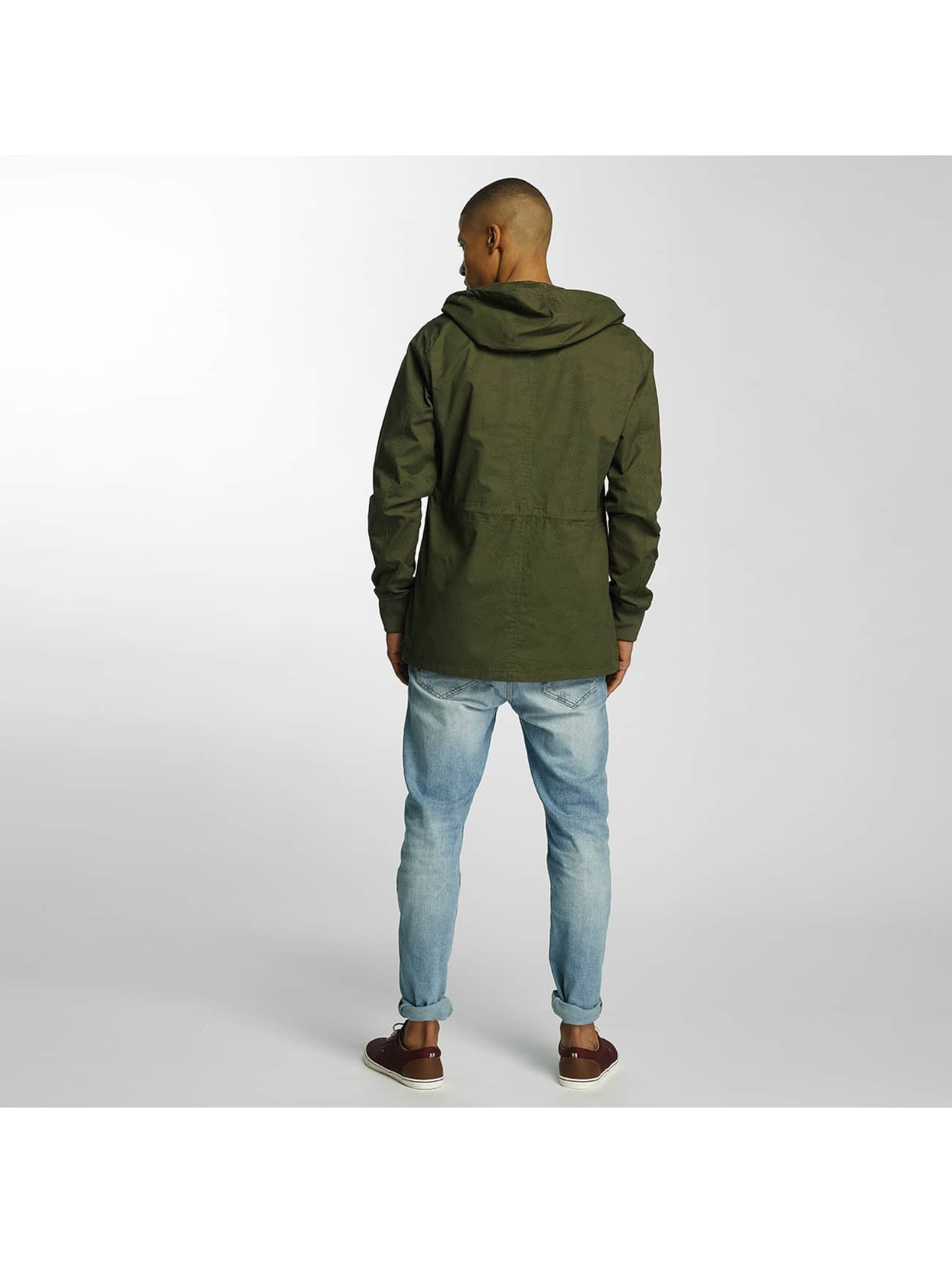Brave Soul Lightweight Jacket Snap Front Hooded Bonded khaki