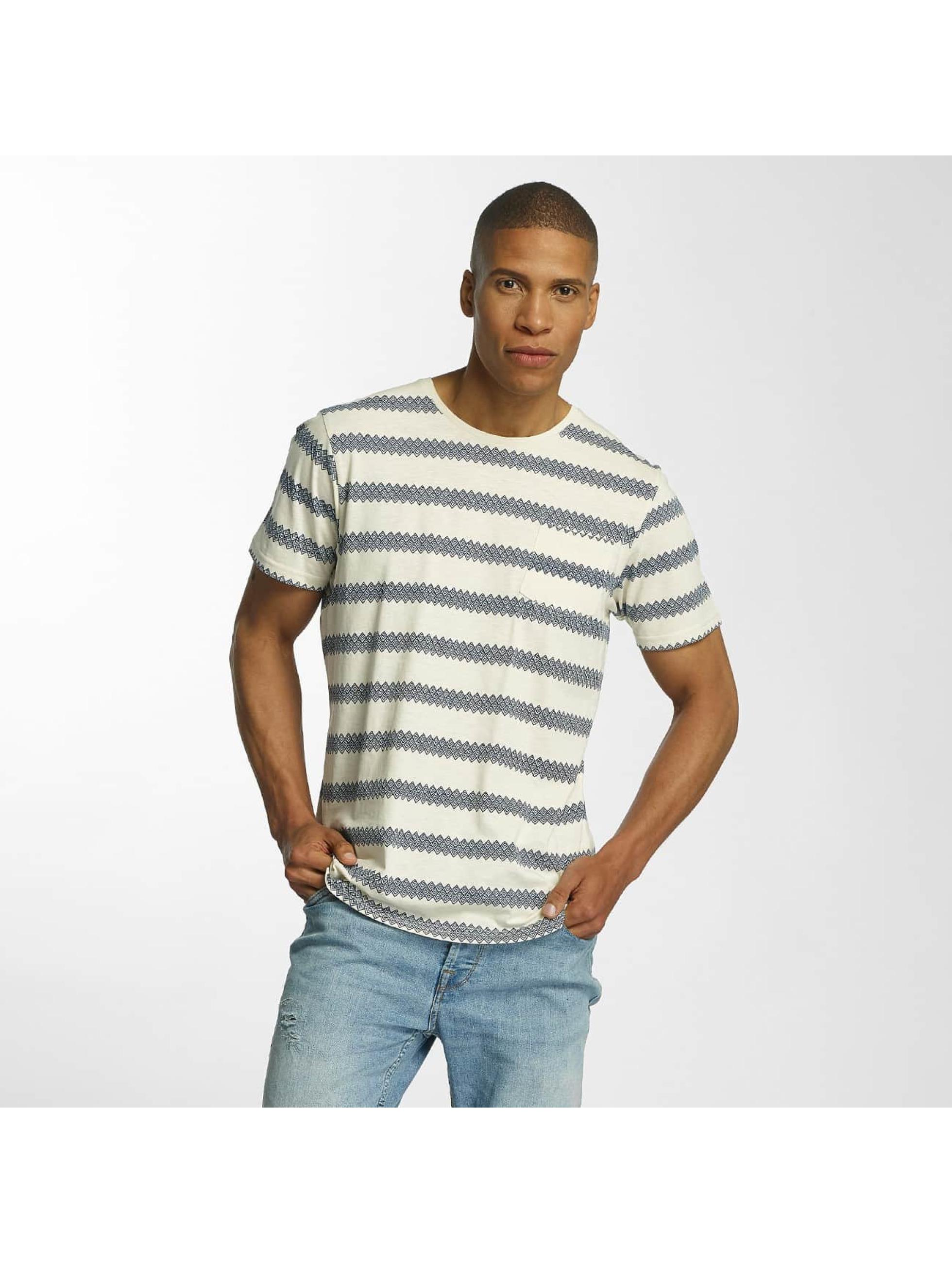 Brave Soul T-Shirt Jacquard Stripe Crew Neck beige