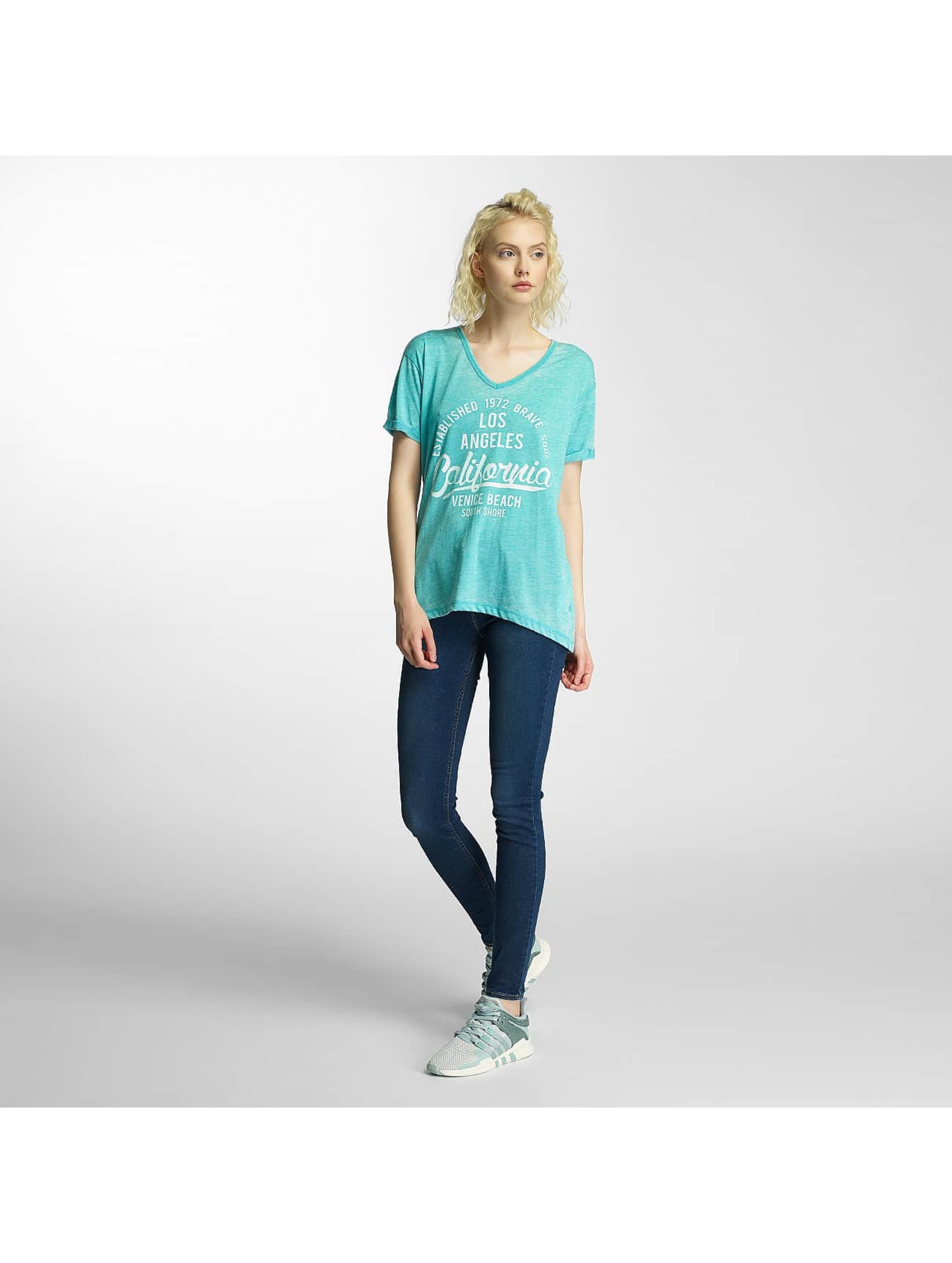 Brave Soul T-Shirt Soul Burn Out V-Neck turquoise