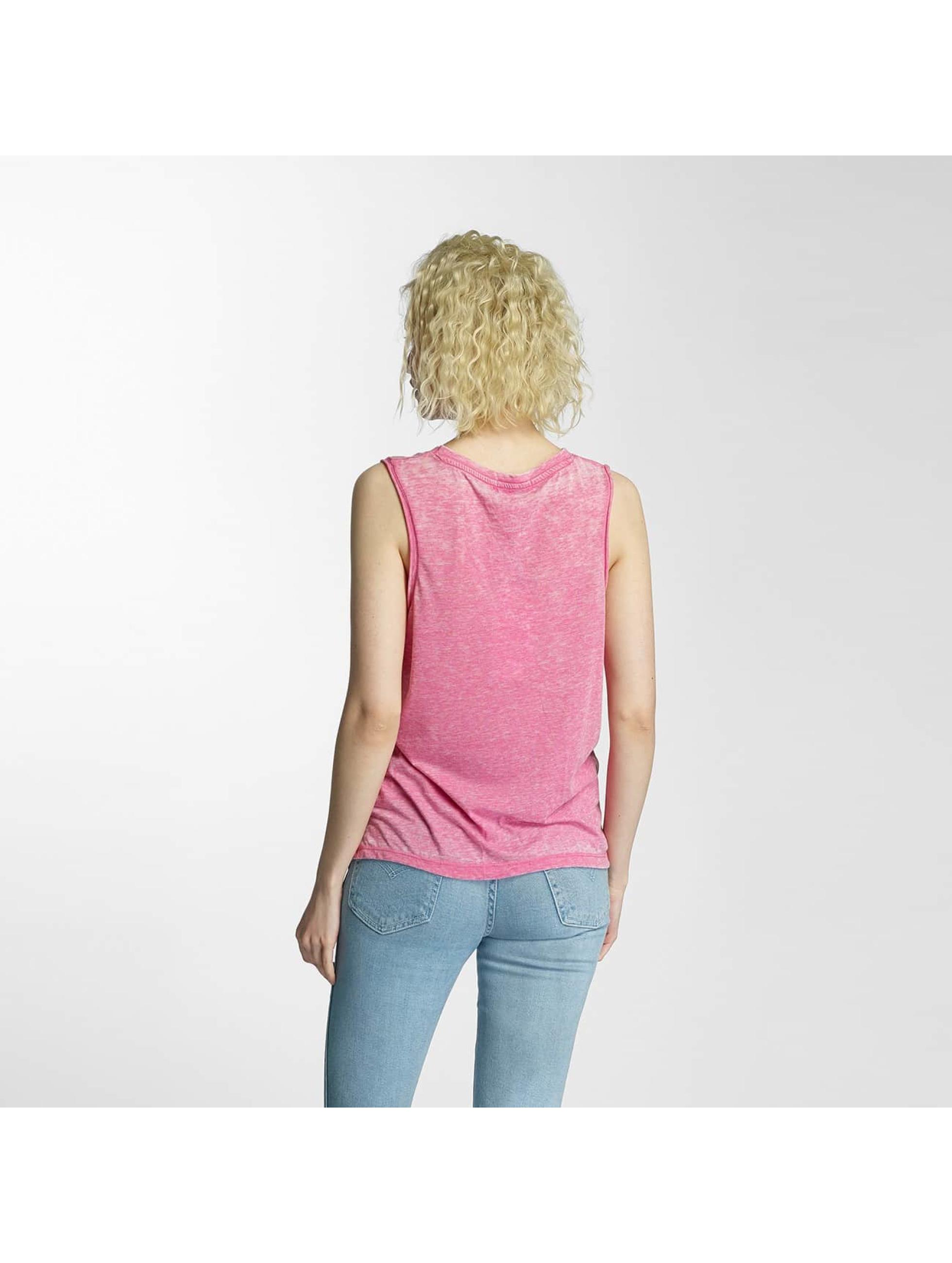 Brave Soul Tank Tops Printed Burn Out Vest pink