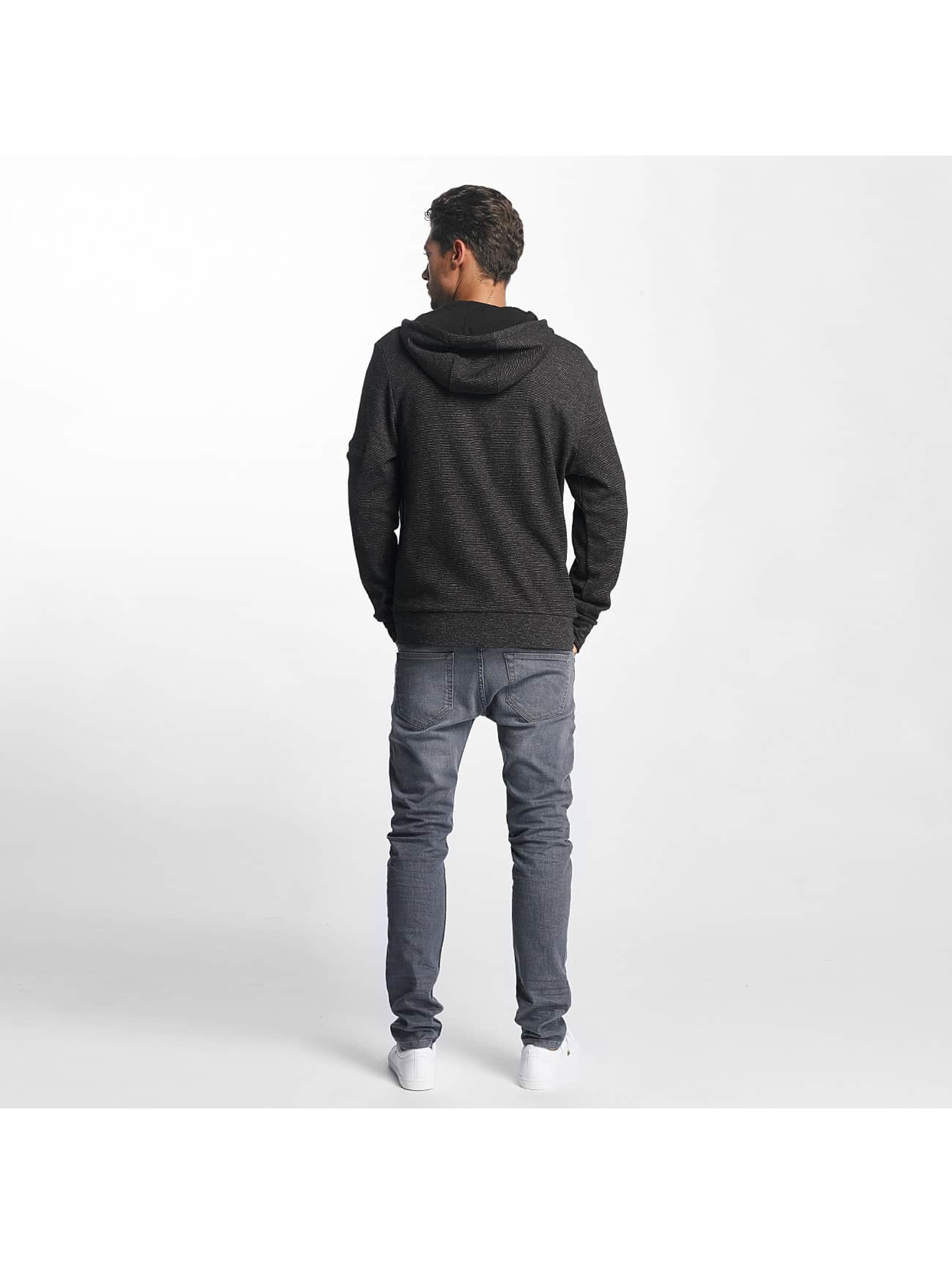 Brave Soul Zip Hoodie High Funnel Neck Through black