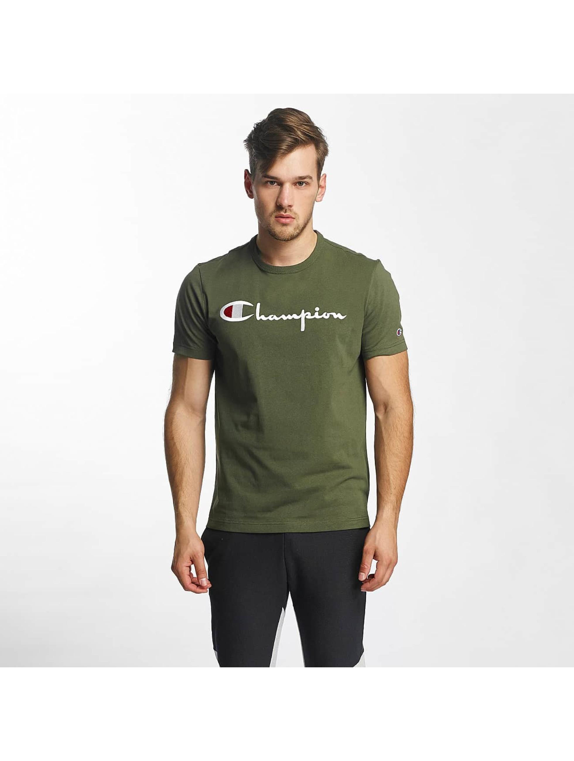 champion cotton graphic olive homme t shirt champion acheter pas cher haut 372729. Black Bedroom Furniture Sets. Home Design Ideas
