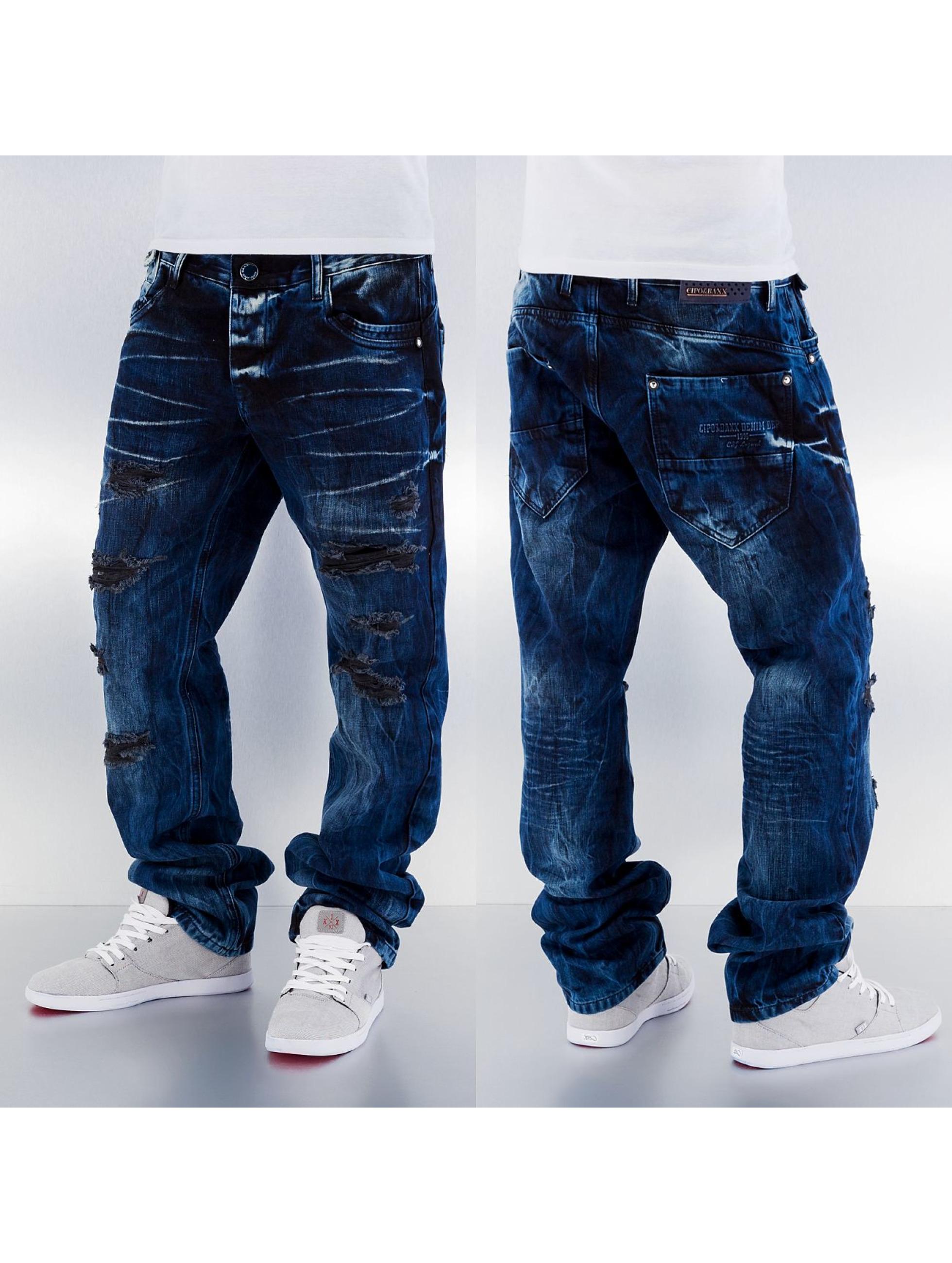 cipo baxx herren loose fit jeans destroyed in blau 129328. Black Bedroom Furniture Sets. Home Design Ideas