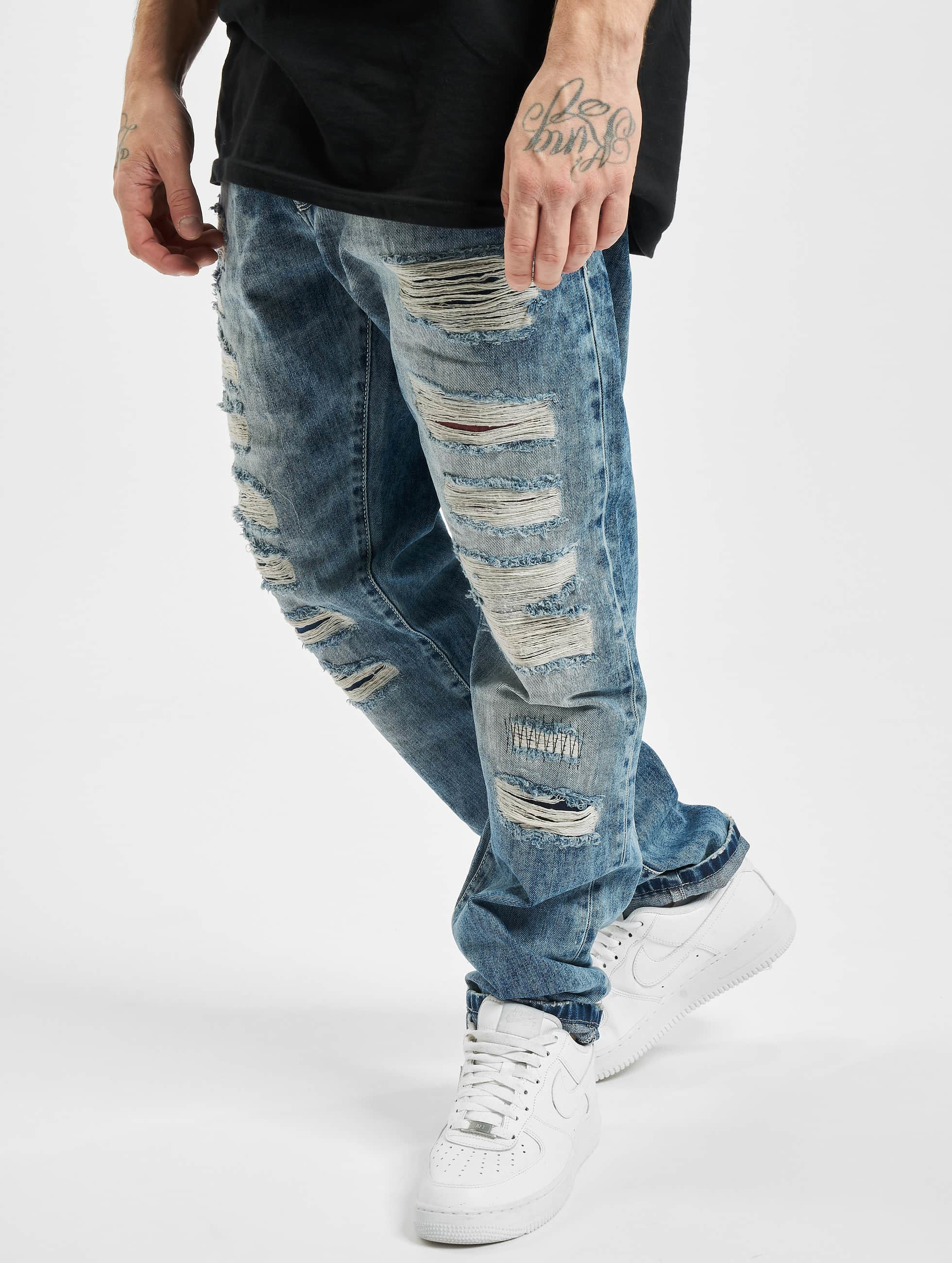 cipo baxx herren straight fit jeans destroyed in blau 228195. Black Bedroom Furniture Sets. Home Design Ideas