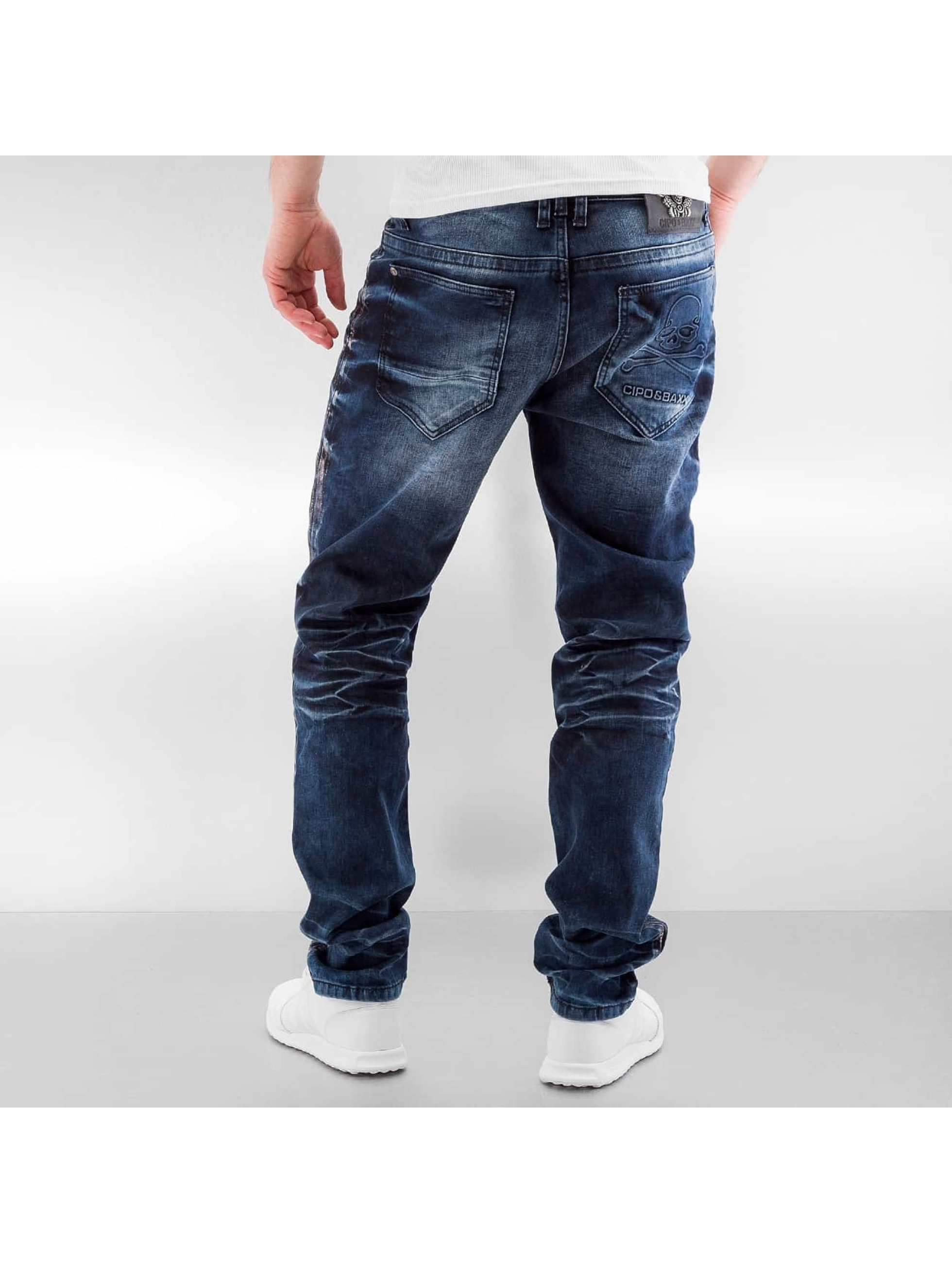 Cipo & Baxx Straight Fit Jeans Skull blue