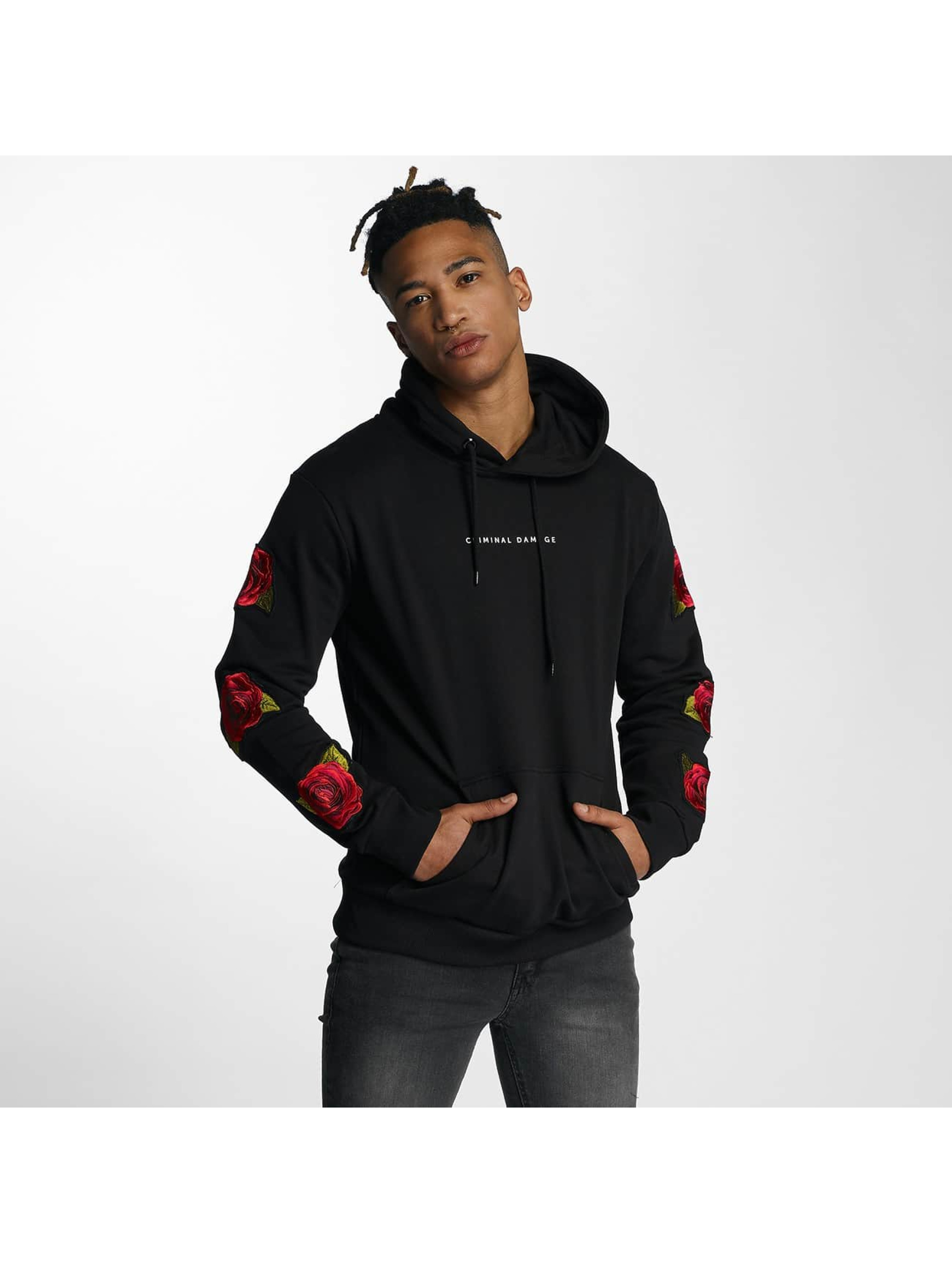 Criminal Damage Hoodie Rosa black