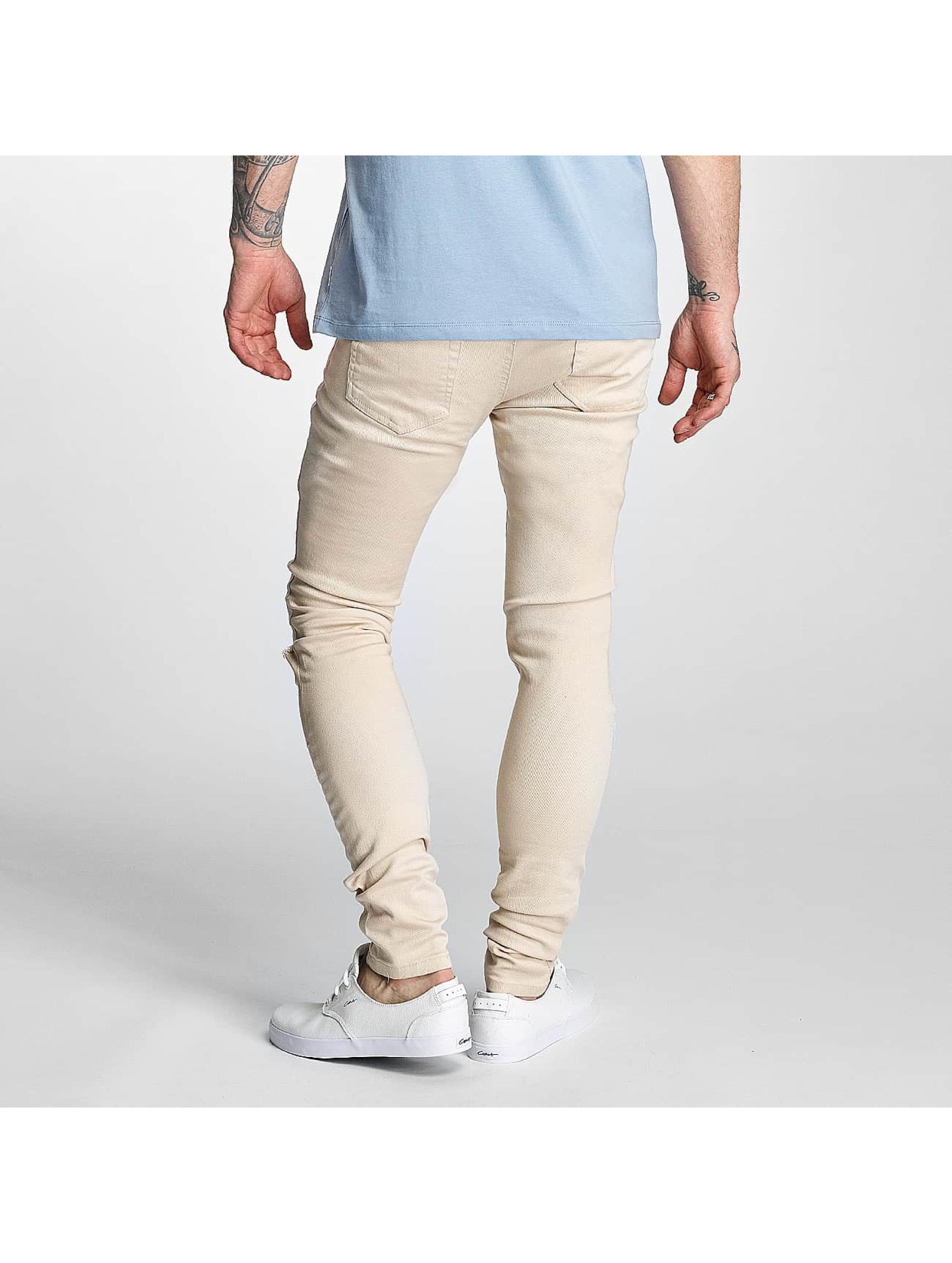 Criminal Damage Skinny Jeans Ripper beige