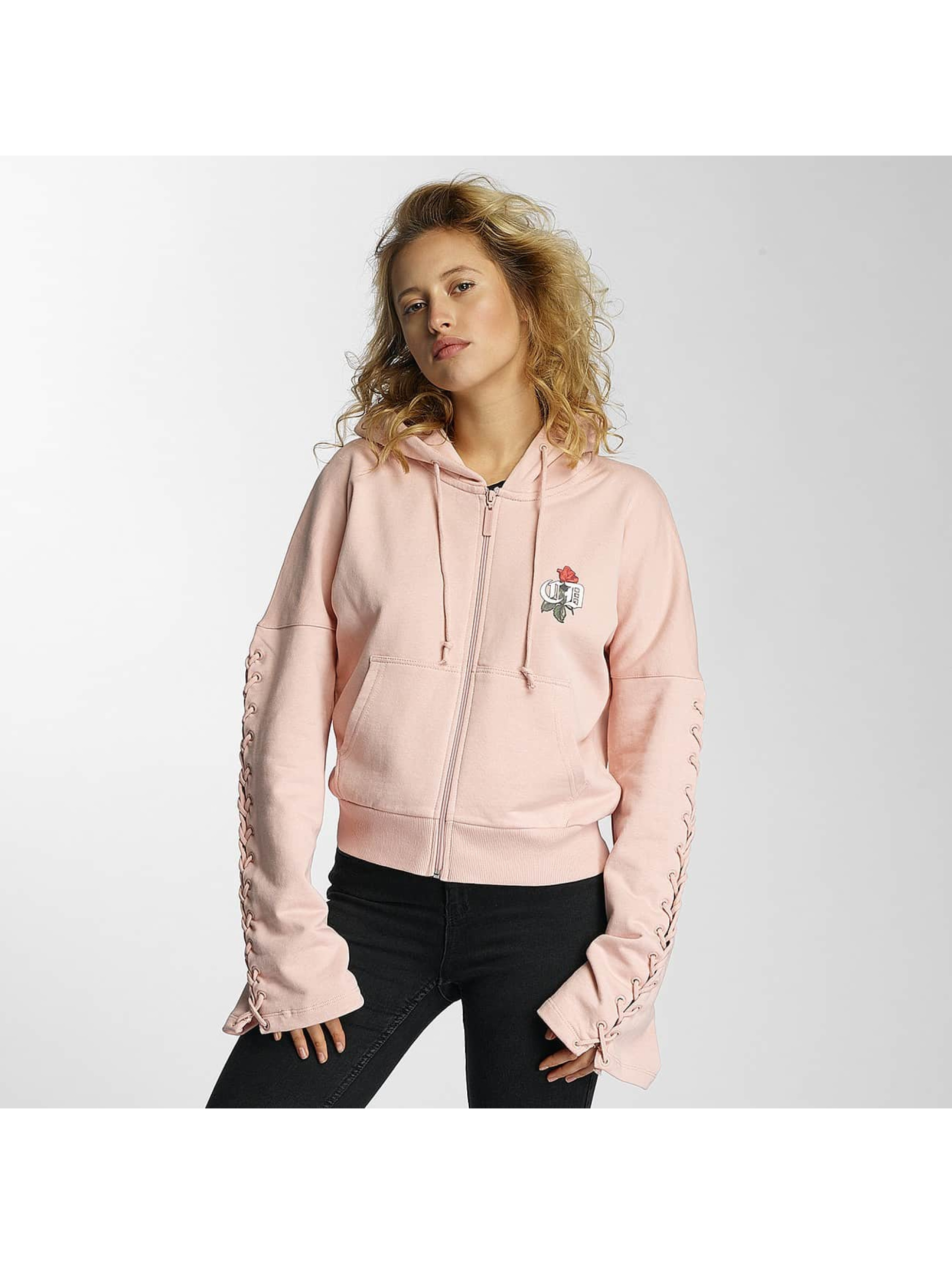 Criminal Damage Zip Hoodie Lacere rose