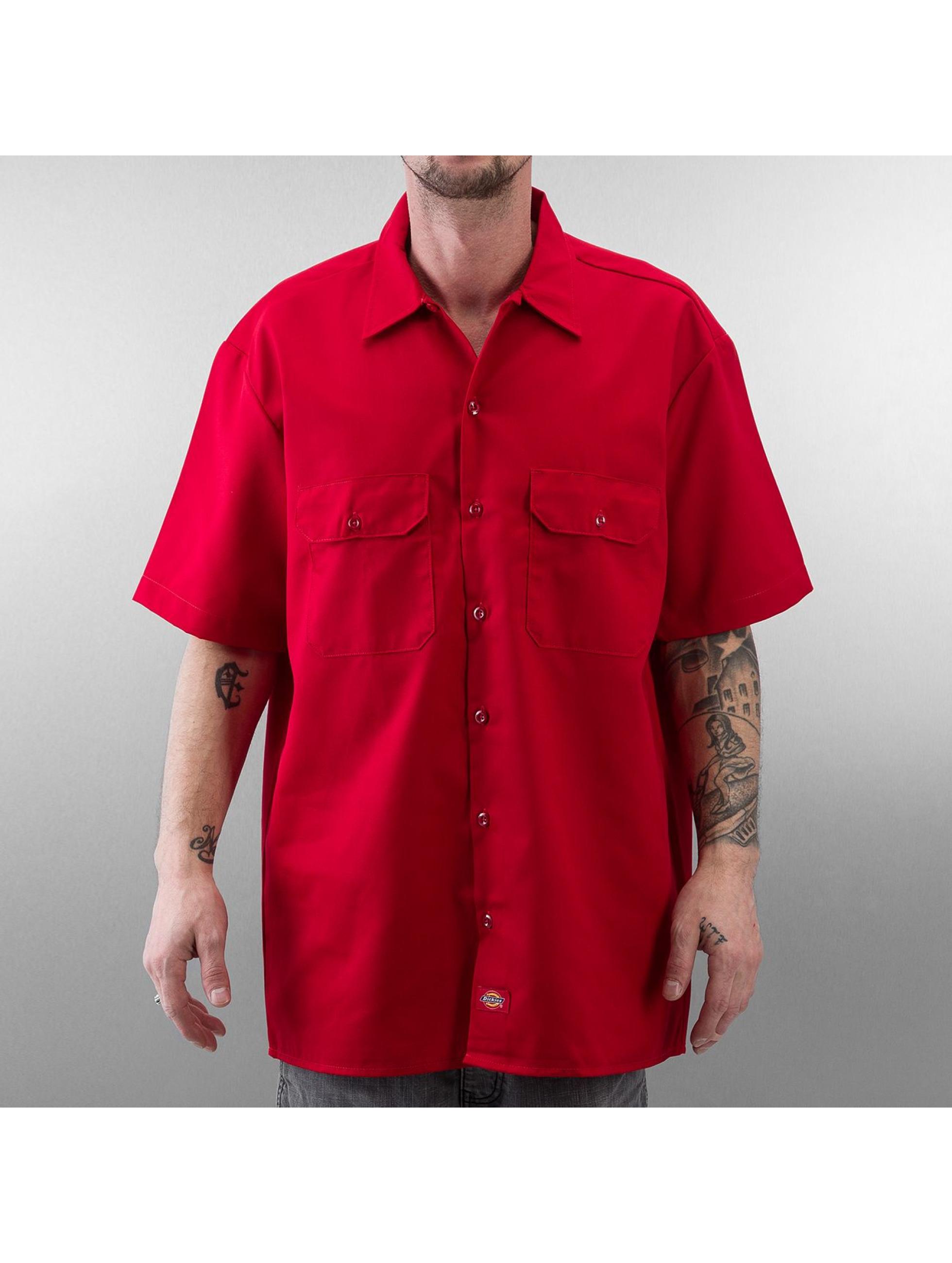 dickies shorts sleeve work rouge homme chemise dickies acheter pas cher haut 122854. Black Bedroom Furniture Sets. Home Design Ideas