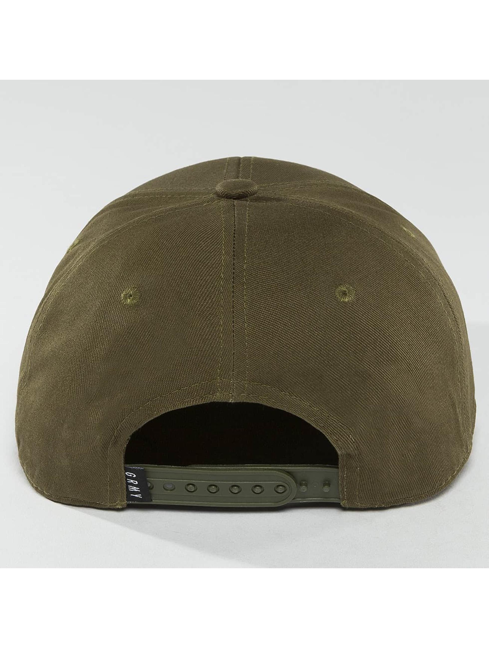 Grimey Wear Snapback Cap Overcome Gravity olive
