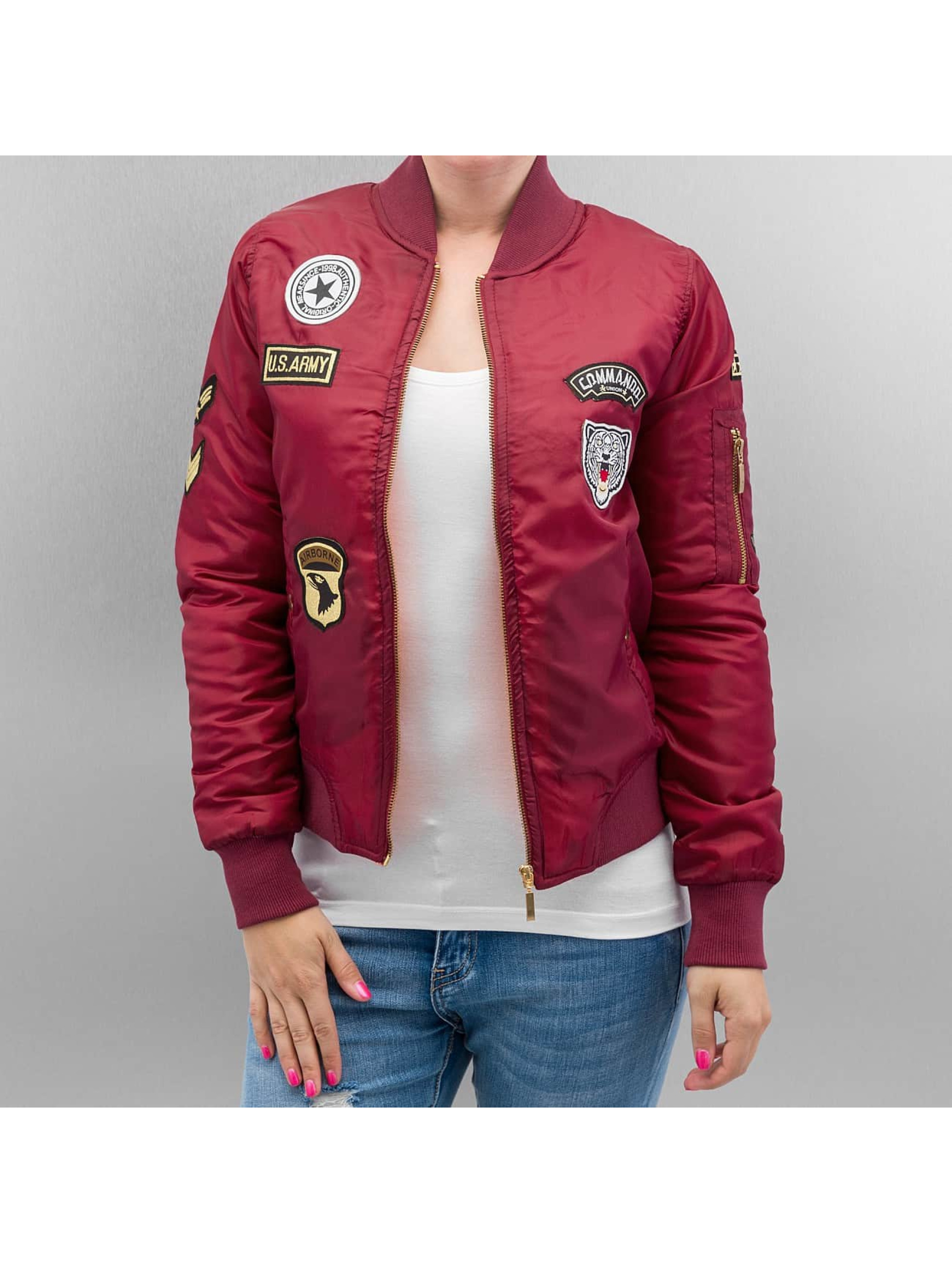 hailys damen bomberjacke patches in rot 281662. Black Bedroom Furniture Sets. Home Design Ideas