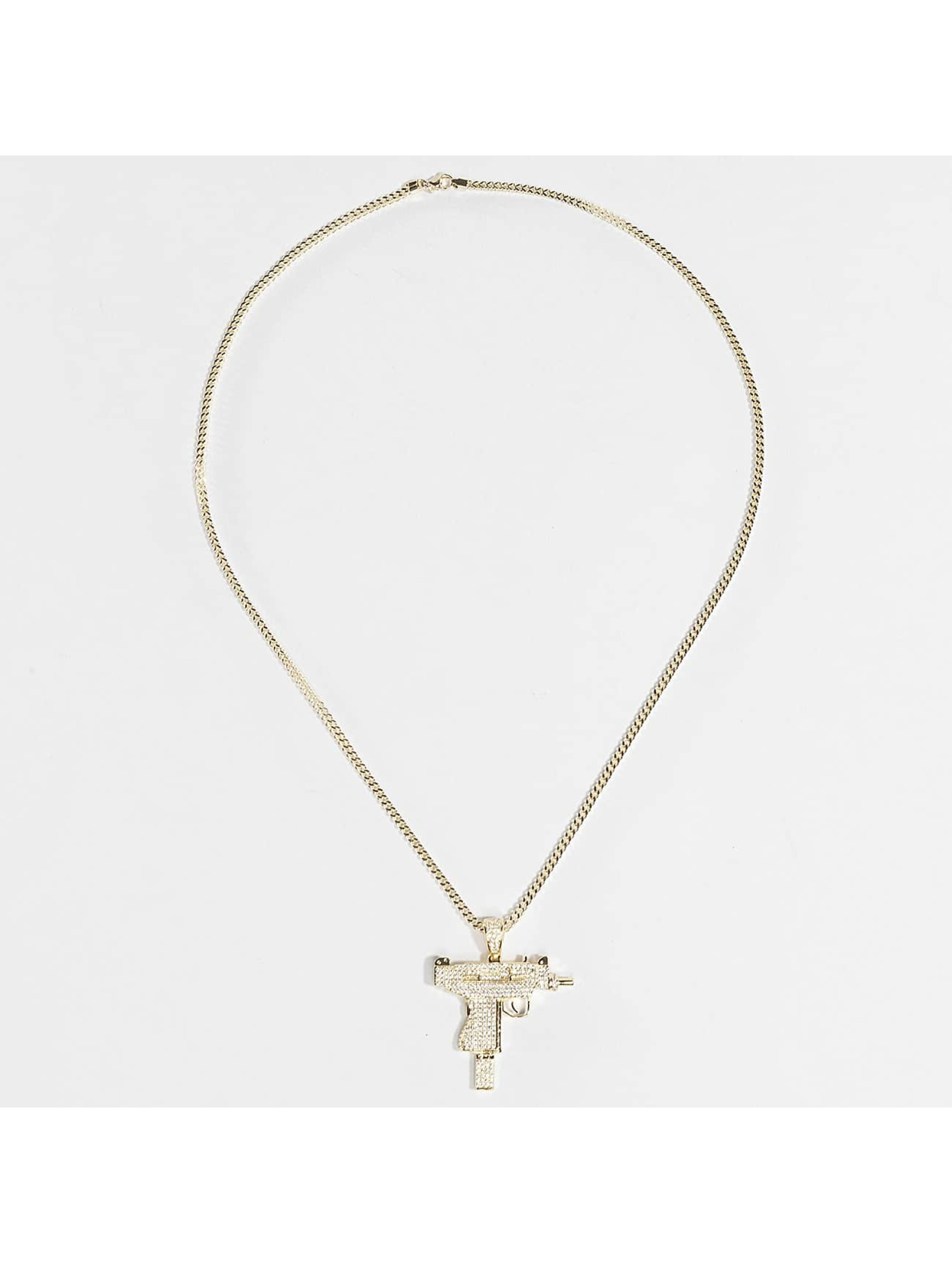 KING ICE Necklace Gold_Plated CZ Uzi gold