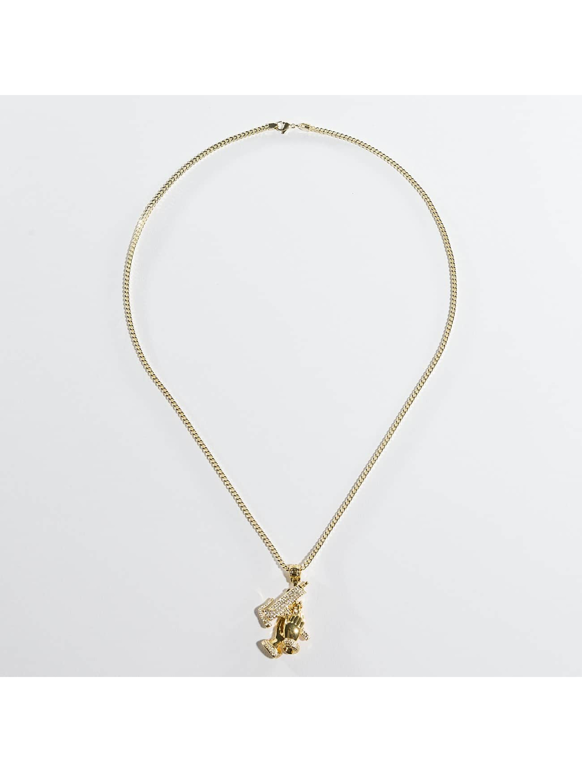 KING ICE Necklace Gold_Plated CZ Praying Hands Of Defense gold