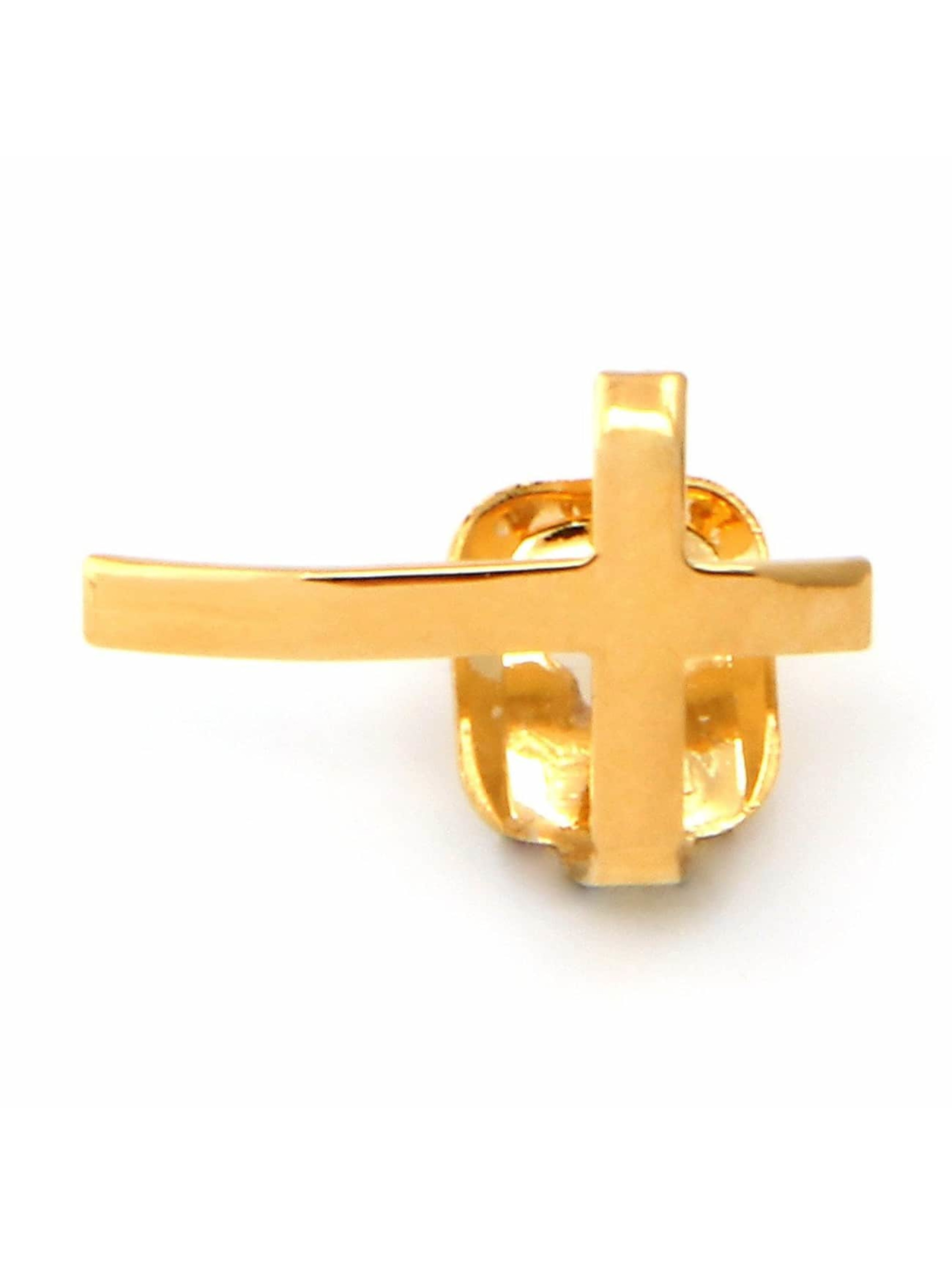 KING ICE Other Gold_Plated Cross Single Tooth Cap Top gold