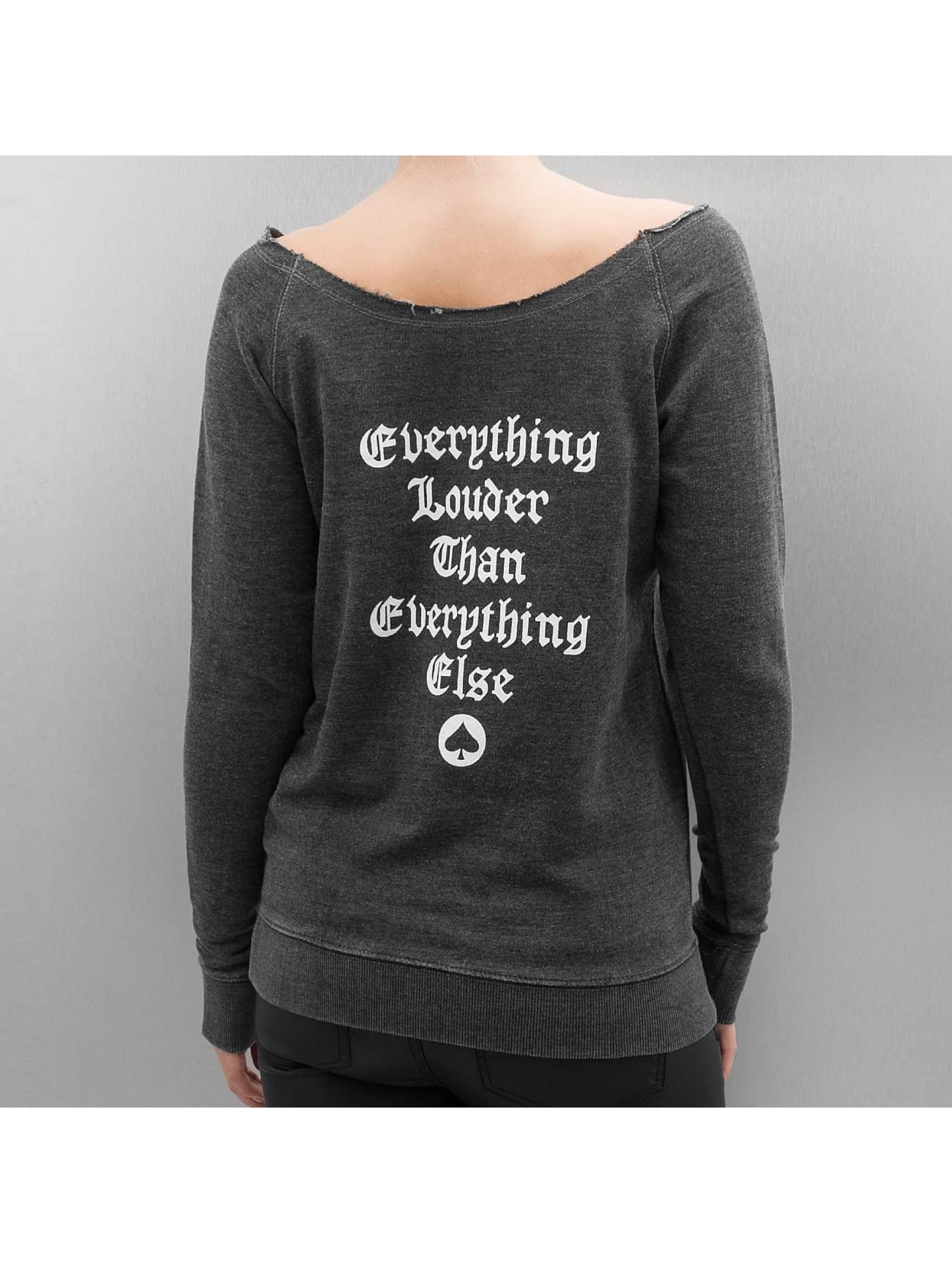 Merchcode Pullover Ladies Motörhead Logo Burnout Open Edge gray