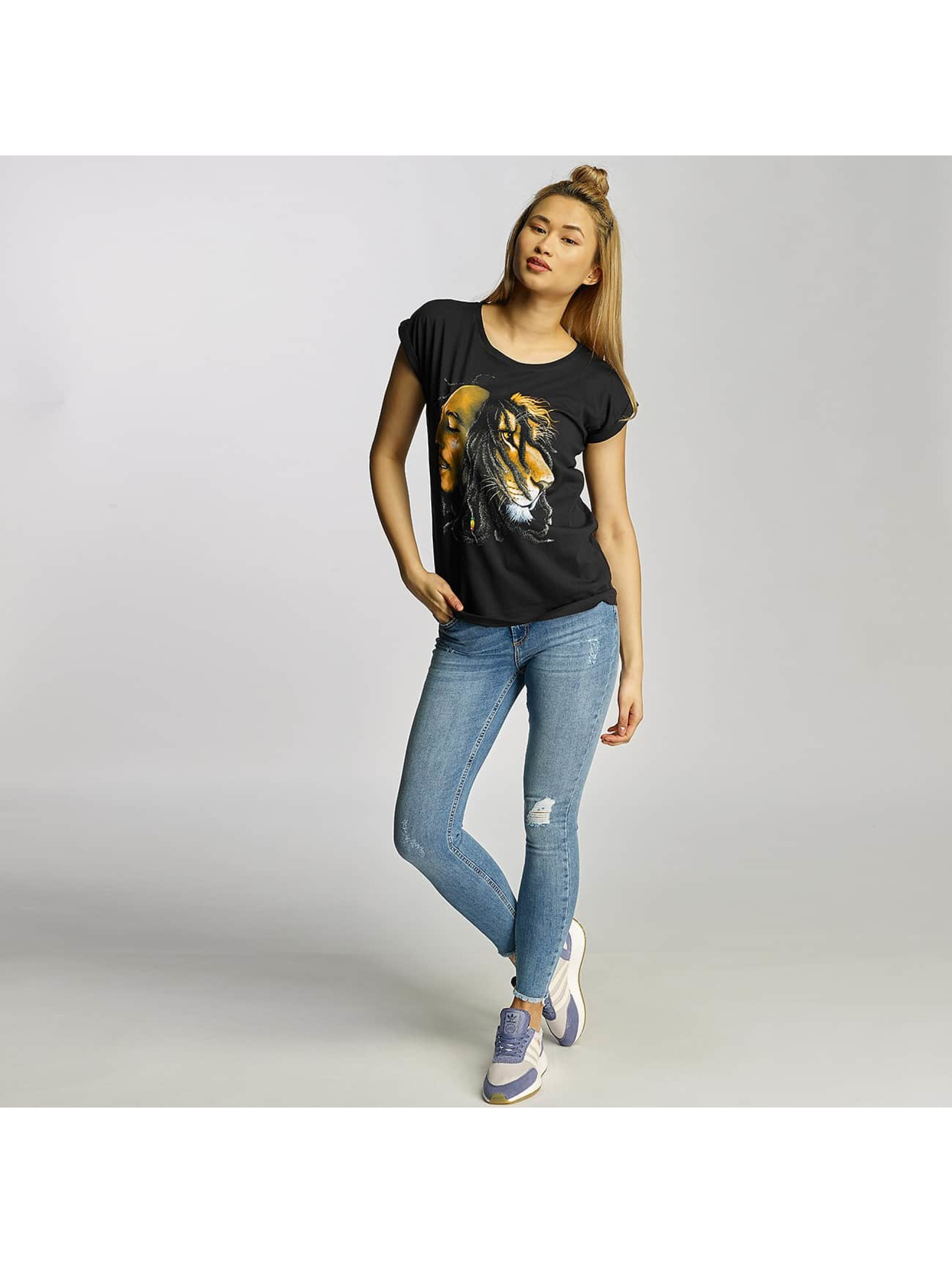 Mister Tee T-Shirt Ladies Bob Marley Lion Face black