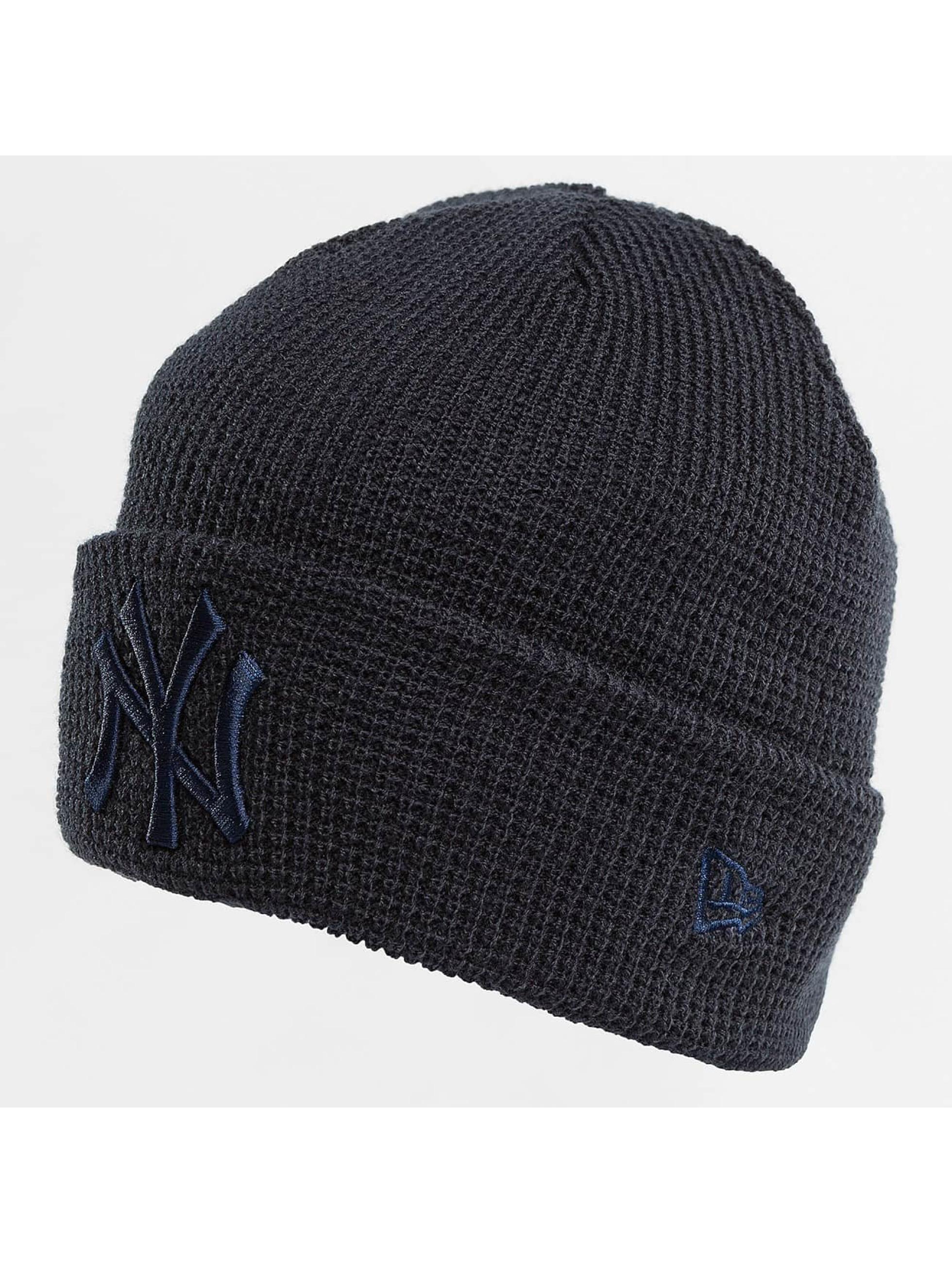 New Era Hat-1 New Era Essential Waffle Knit NY Yankees Beanie blue