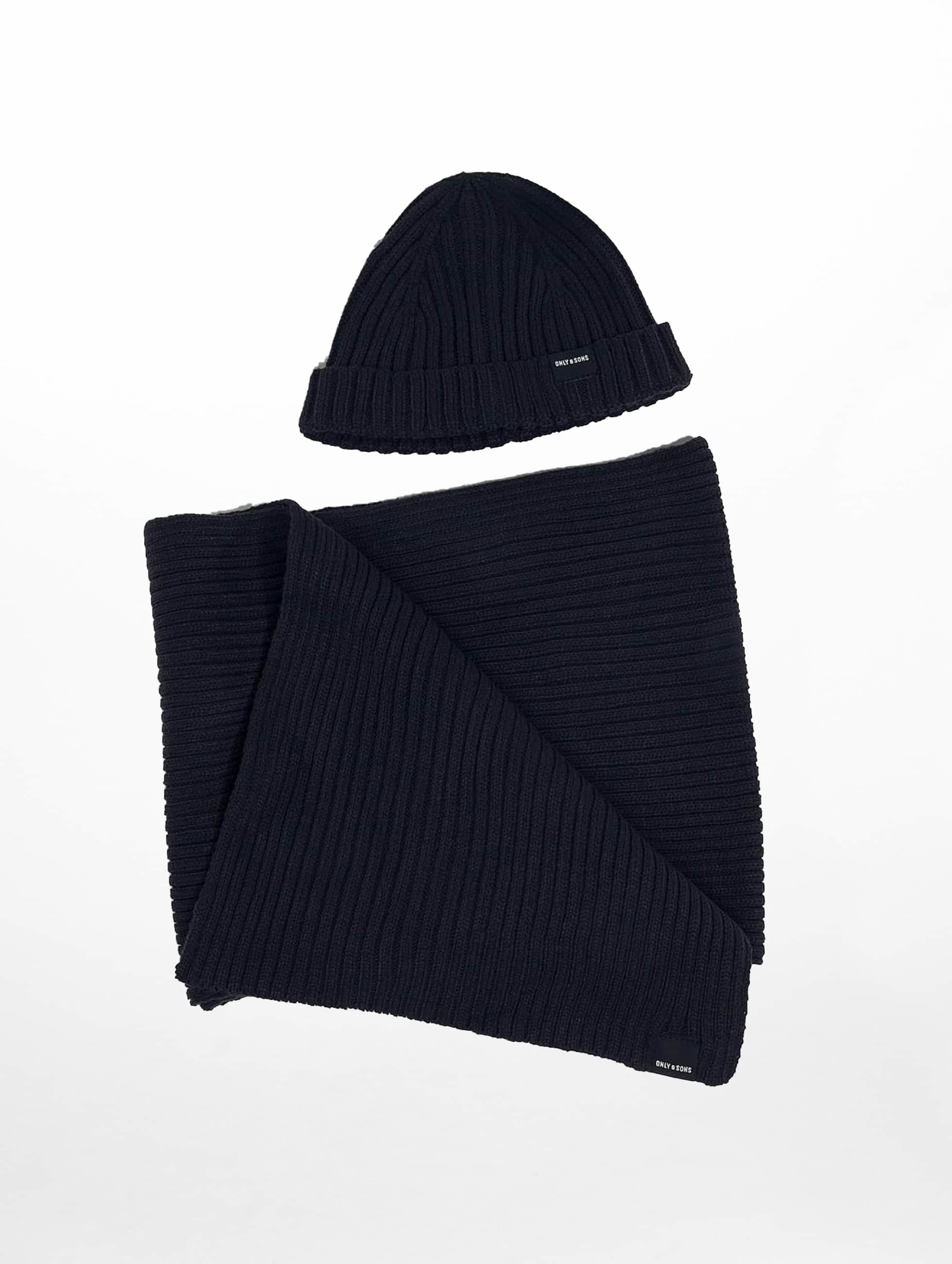 Only & Sons Hat-1 onsChris Beanie & Scarf blue