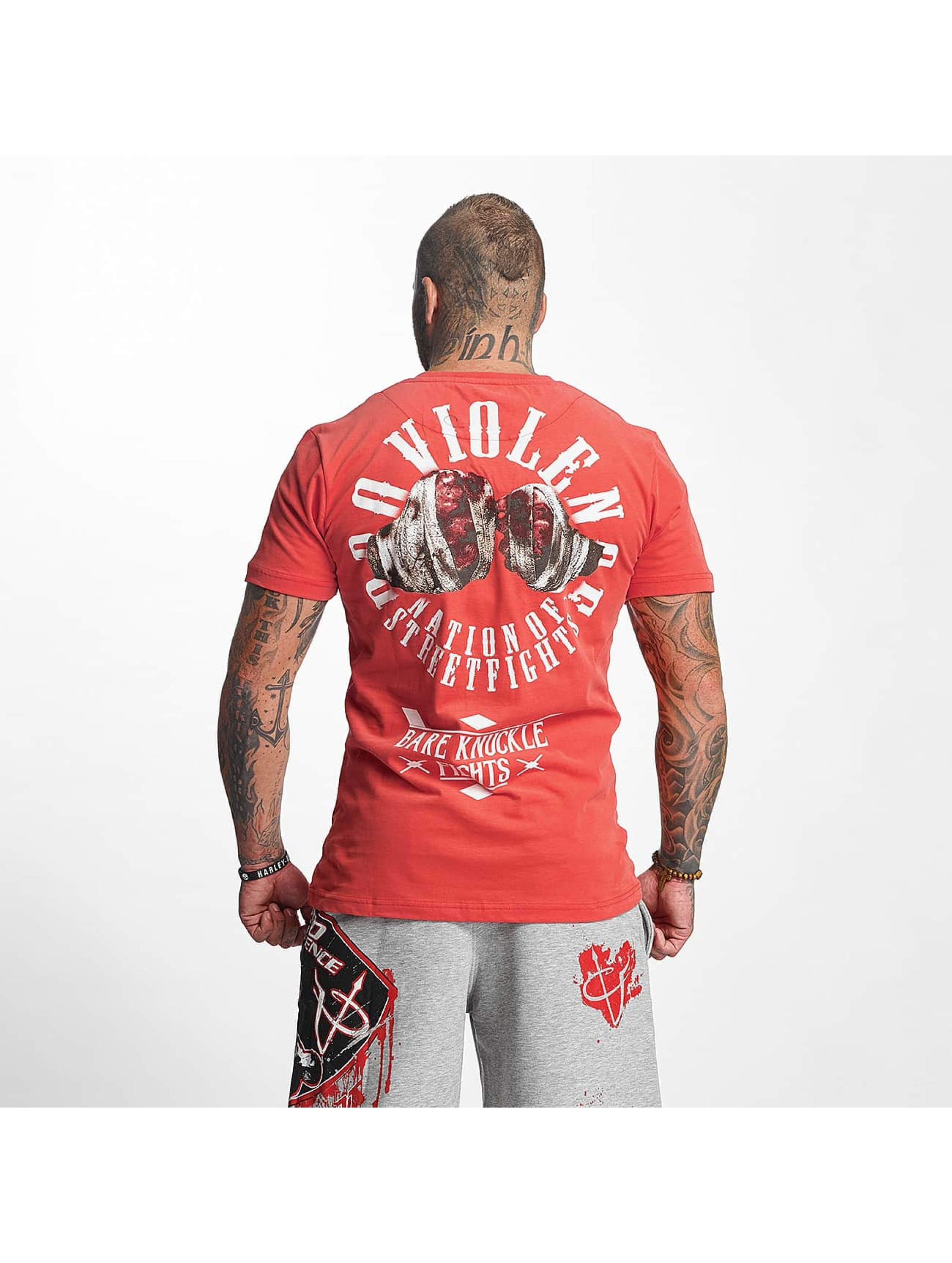Pro Violence Streetwear T-Shirt Knuckle Bare red