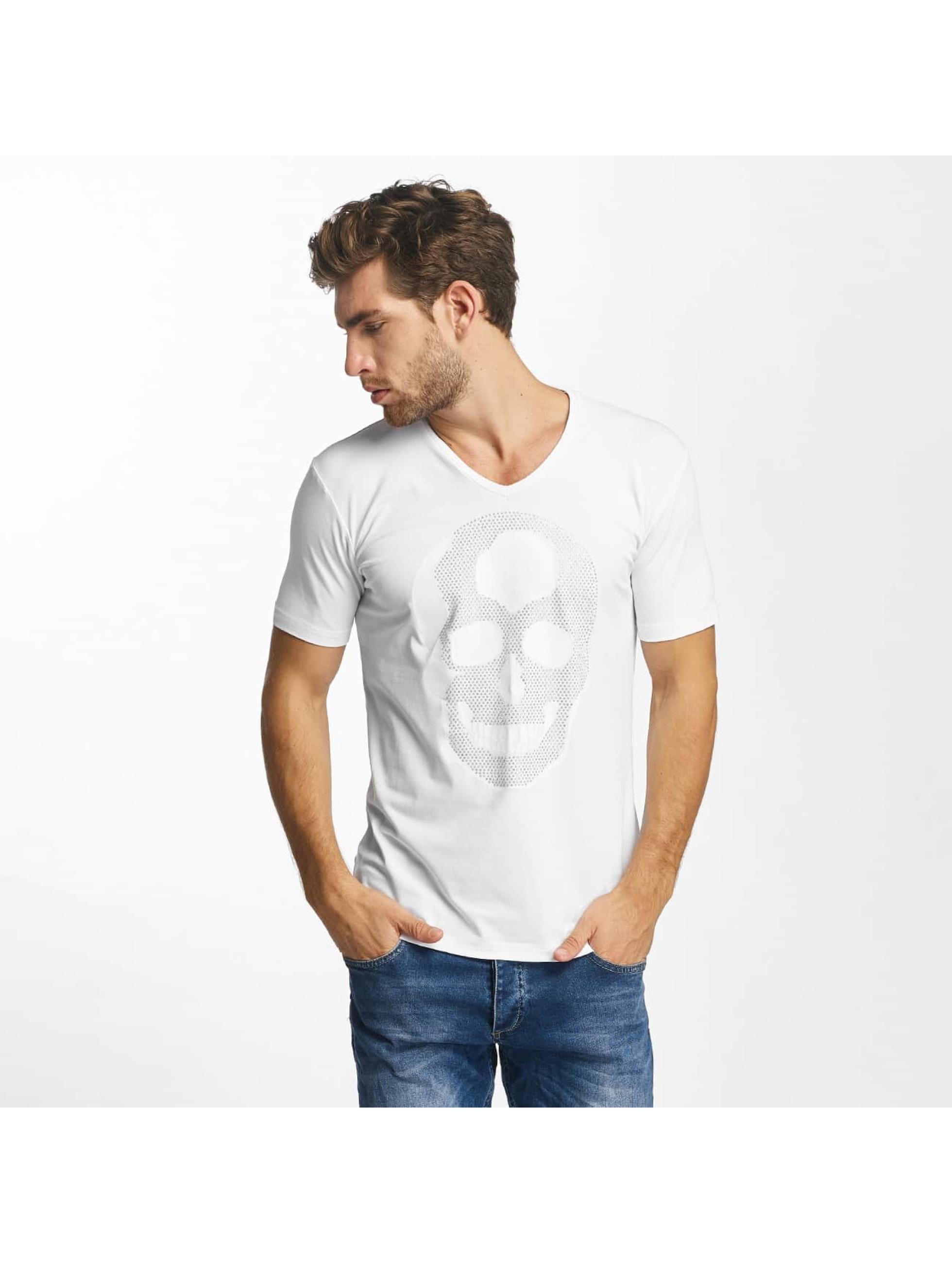 Red Bridge T-Shirt Rhinestone Skull white