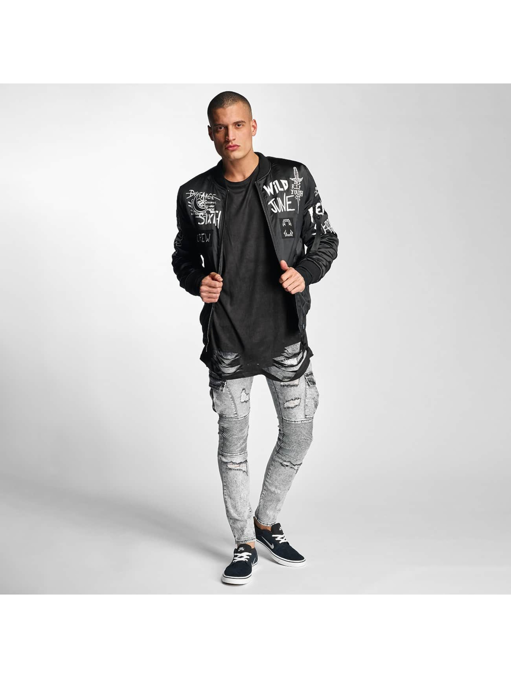 Sixth June Bomber jacket Flock Print Satin black