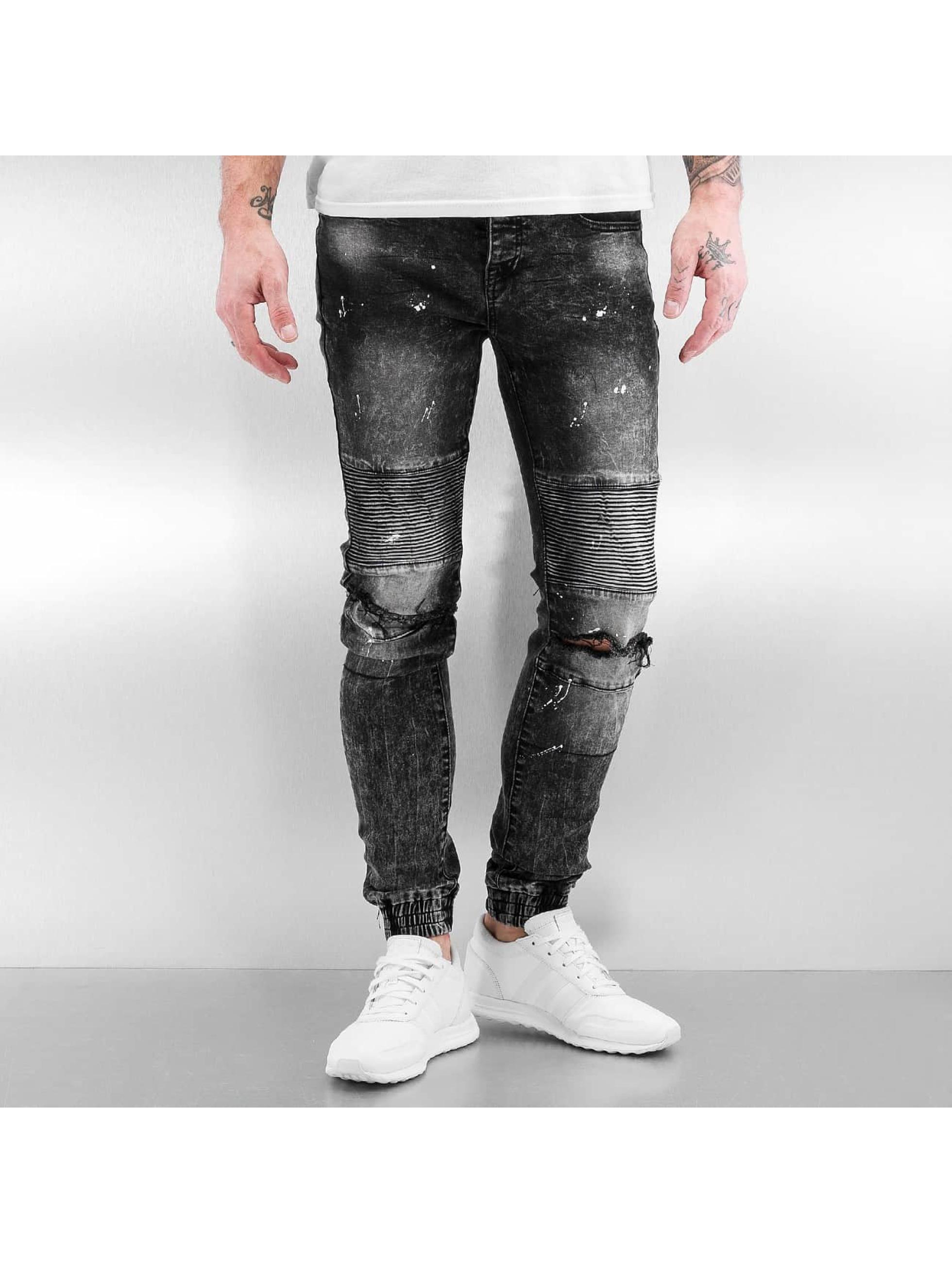 sixth june jeans skinny jeans destroyed biker denim i sort 316101. Black Bedroom Furniture Sets. Home Design Ideas