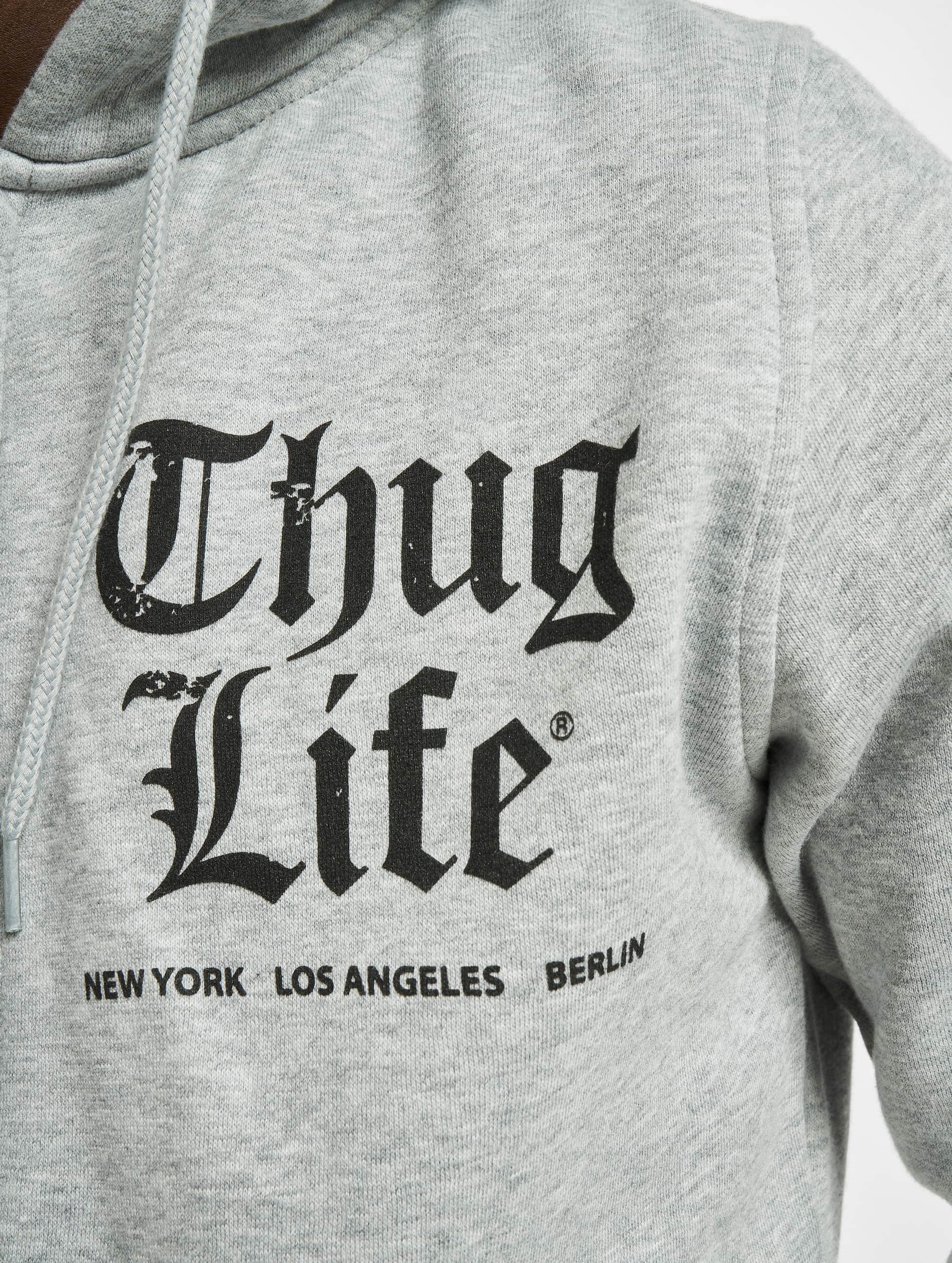 Thug Life Basic Zip Hoodie Chest Cities gray