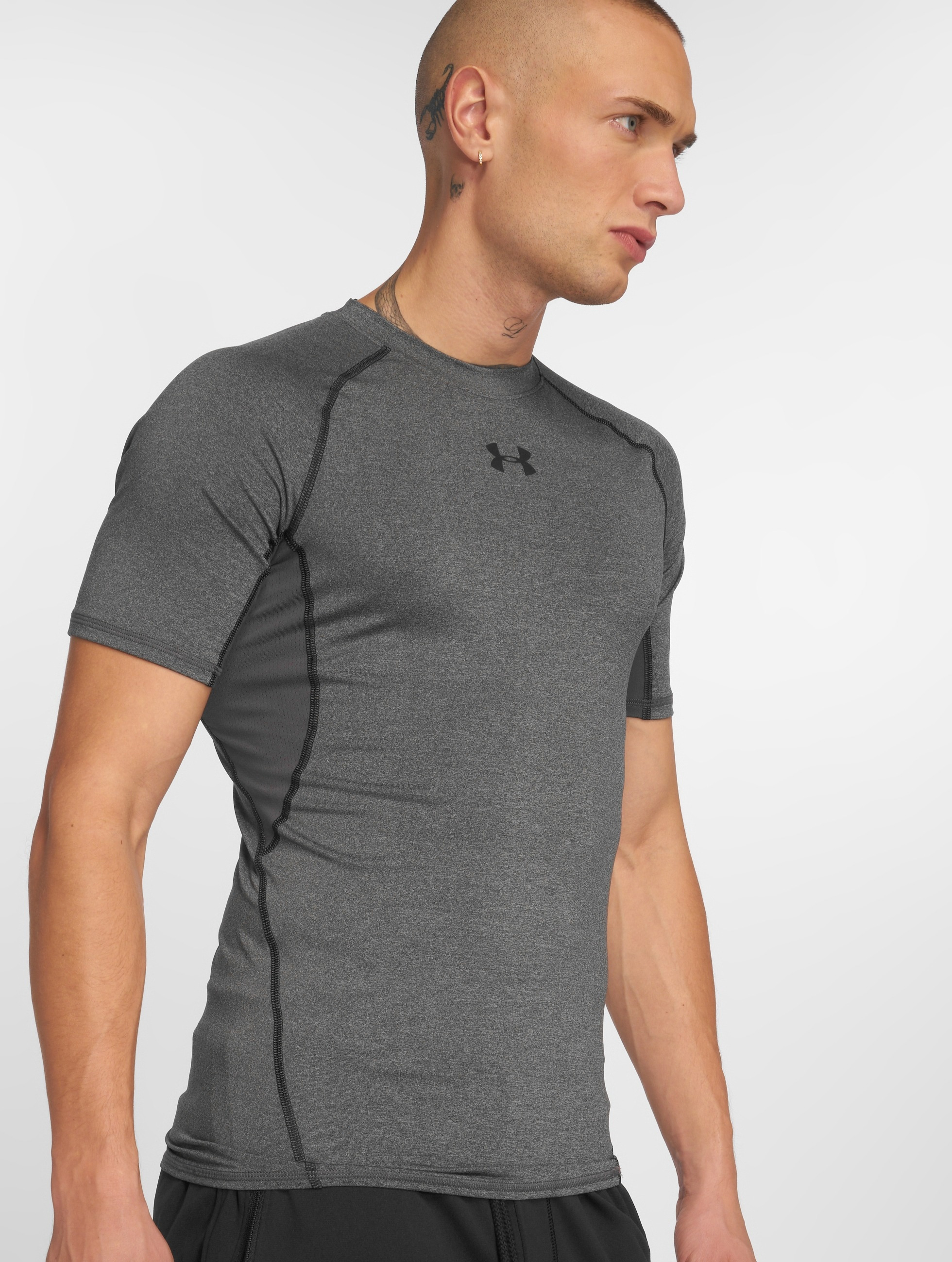 under armour heatgear compression gris homme t shirt under armour acheter pas cher haut 210442. Black Bedroom Furniture Sets. Home Design Ideas