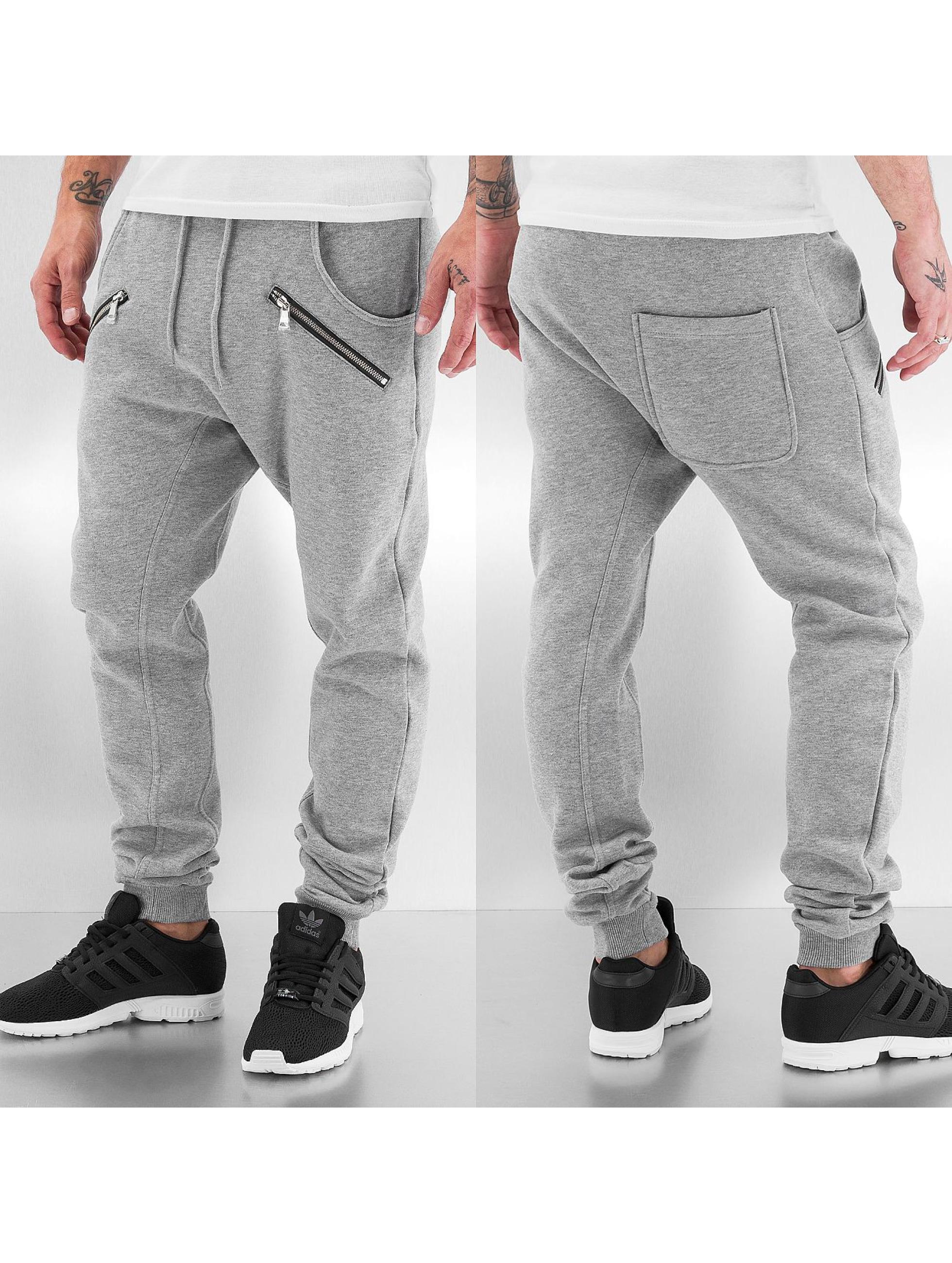 urban classics hose jogginghose zip deep crotch in grau. Black Bedroom Furniture Sets. Home Design Ideas