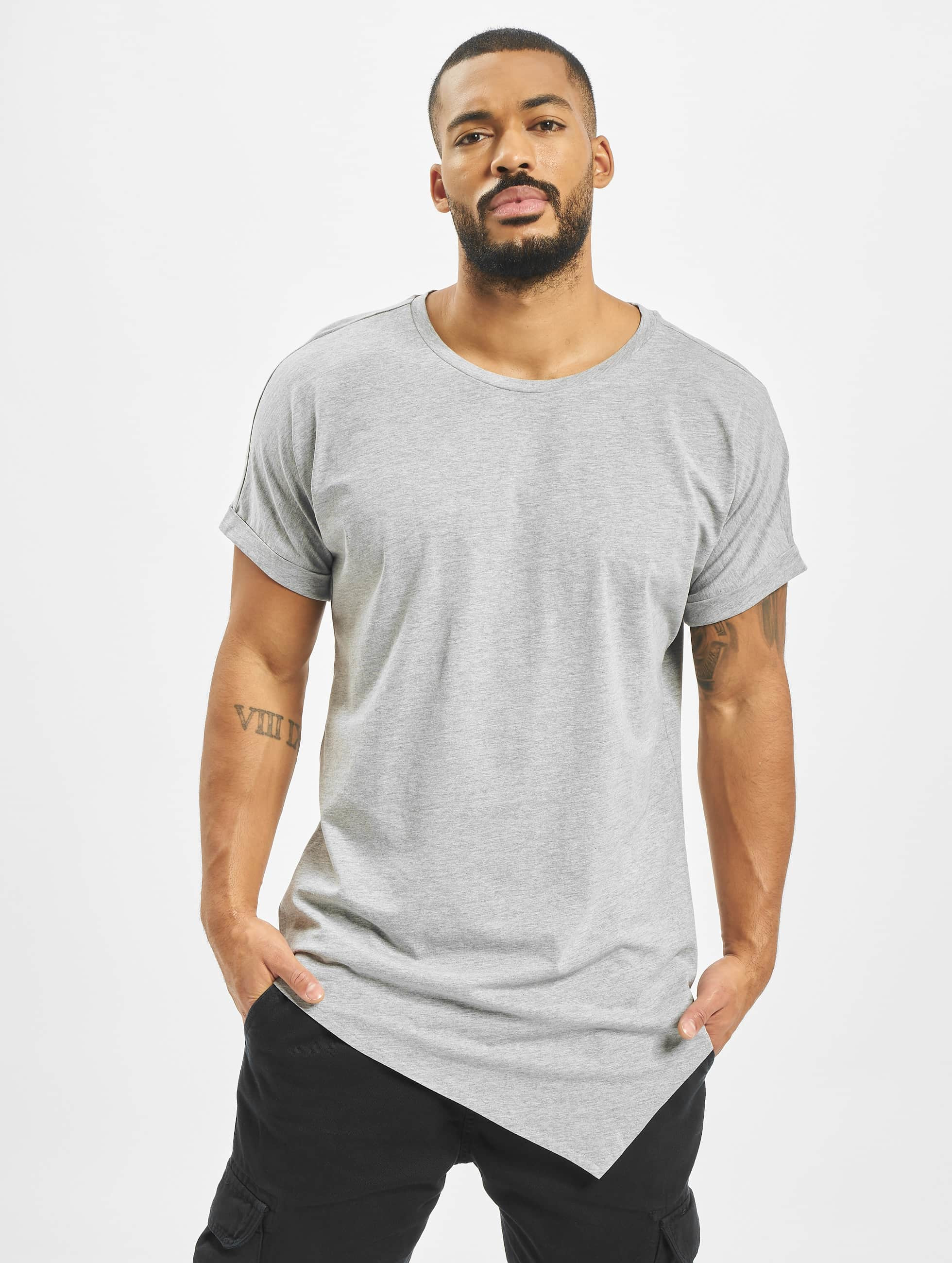 urban classics herren t shirt asymetric long in grau 263414. Black Bedroom Furniture Sets. Home Design Ideas