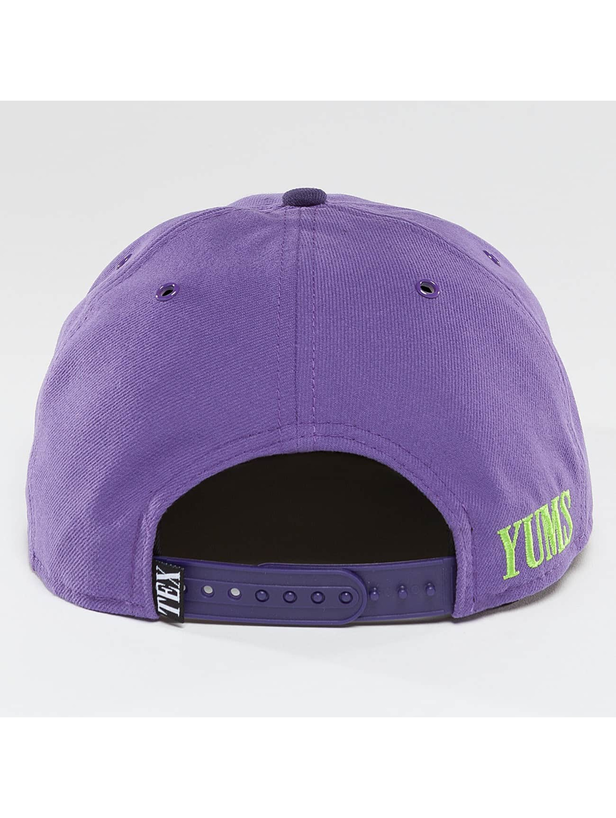 Yums Snapback Cap Black Tag Patch Face purple
