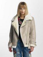 Sixth June Leather Jacket Perfecto Fur beige