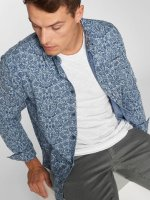Urban Classics Shirt Printed Flower Denim blue