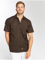 Dickies Shirt Shorts Sleeve Work brown