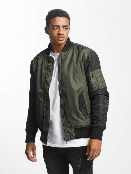 DEF Two Tone Bomber Jacket Olive/Black
