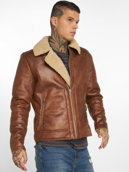 Jack & Jones Leather Jacket jorAviator brown