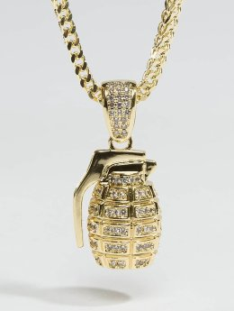 KING ICE Necklace Gold_Plated CZ Hand Grenade gold