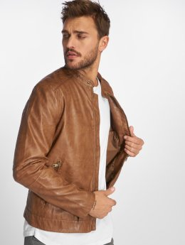 Only & Sons Leather Jacket onsWash Pu Utd brown