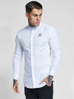 Sik Silk Shirt Grandad Collar Oxford Stretch Fit white