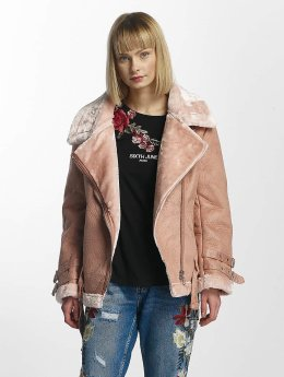 Sixth June Leather Jacket Perfecto Fur rose