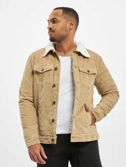 Urban Classics Lightweight Jacket Sherpa Corduroy beige