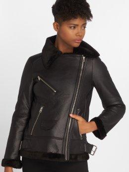 Vero Moda Leather Jacket vmPop Faux Shearling black