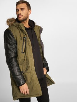 VSCT Clubwear Winter Jacket Leatherlook Sleeves khaki
