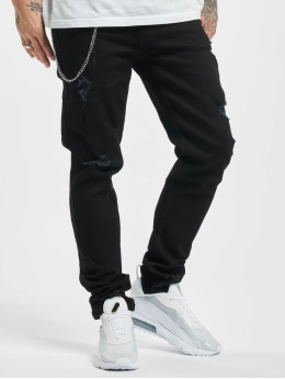 Denim Project Straight Fit Jeans  Mr. Red Chain Destroy black